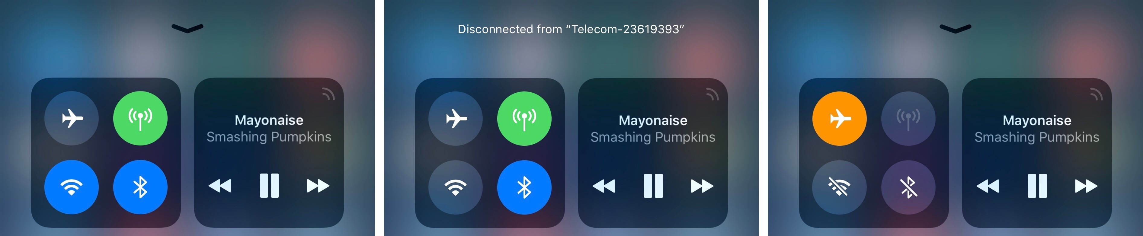 Multiple Wi-Fi states in Control Center (on, disconnected, off).