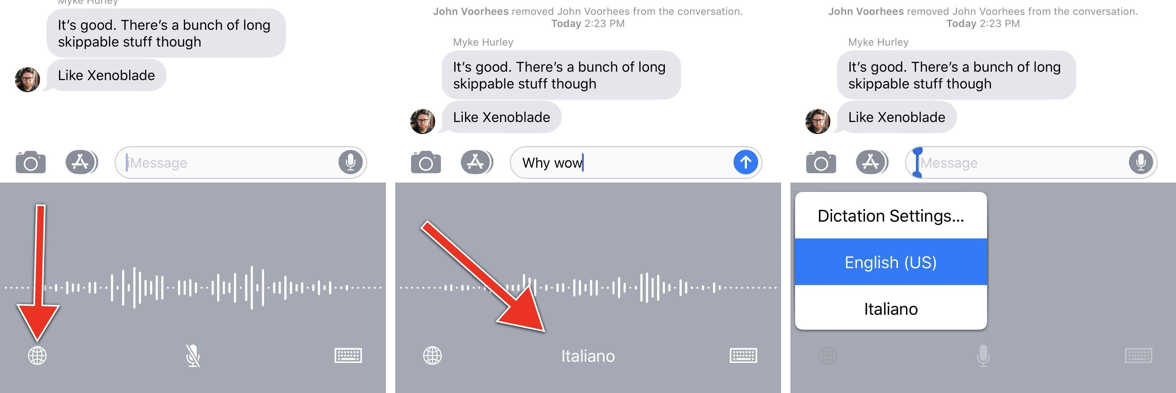 Changing dictation languages in iOS 11.