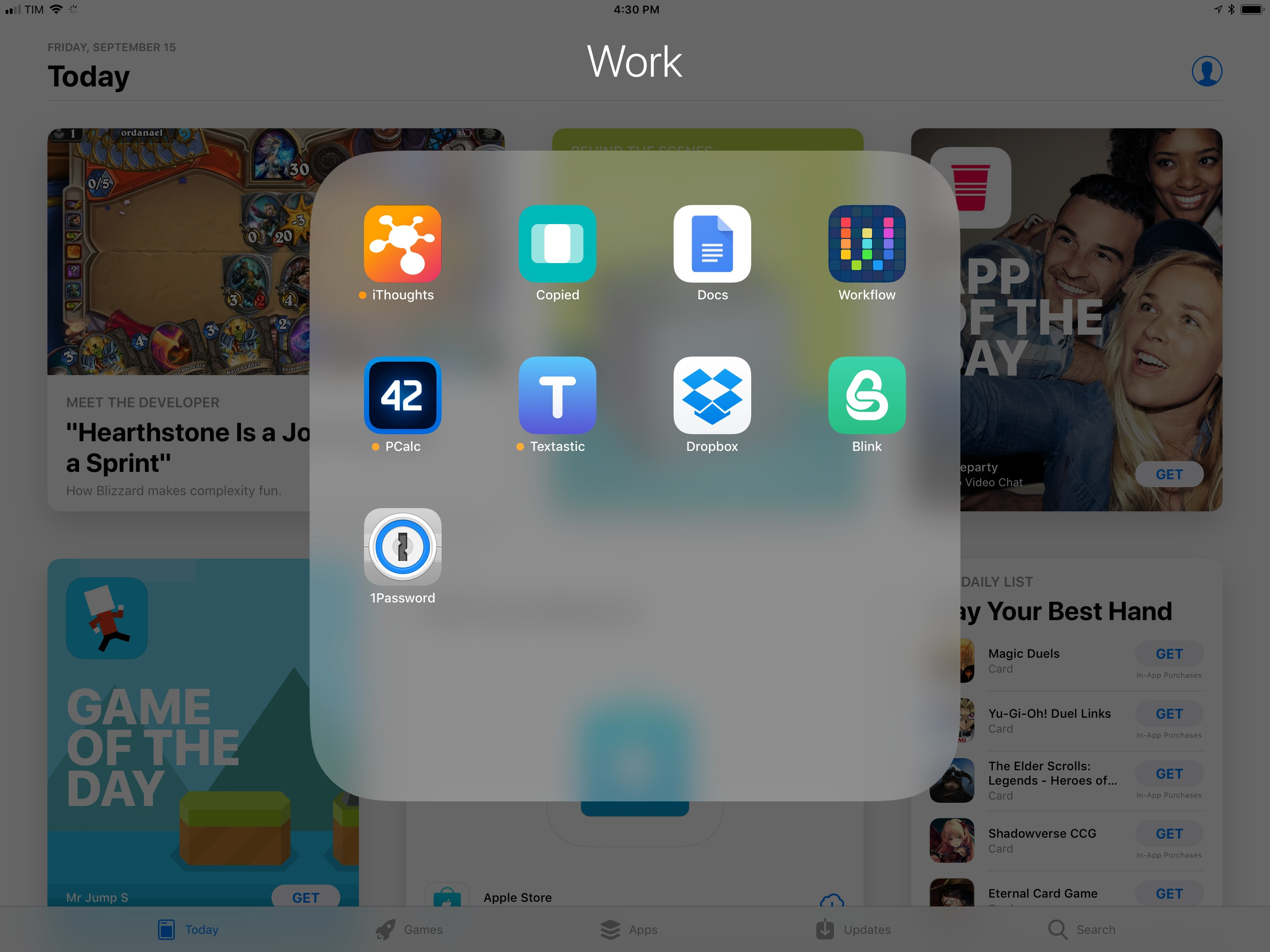 "A ""docked"" folder opened on top of the foreground app."