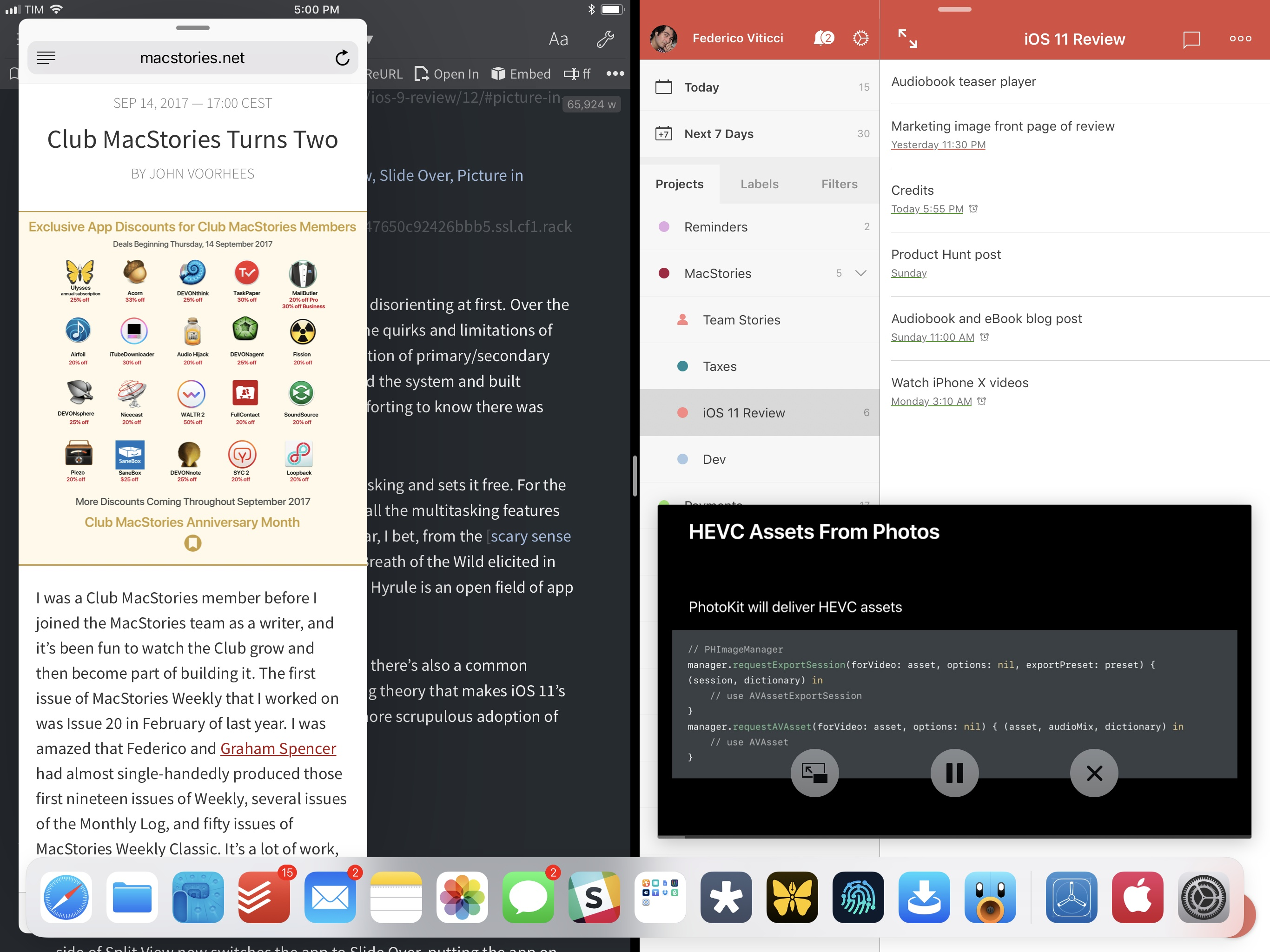The new age of iPad multitasking: Split View, Slide Over, Picture in Picture, and the dock.