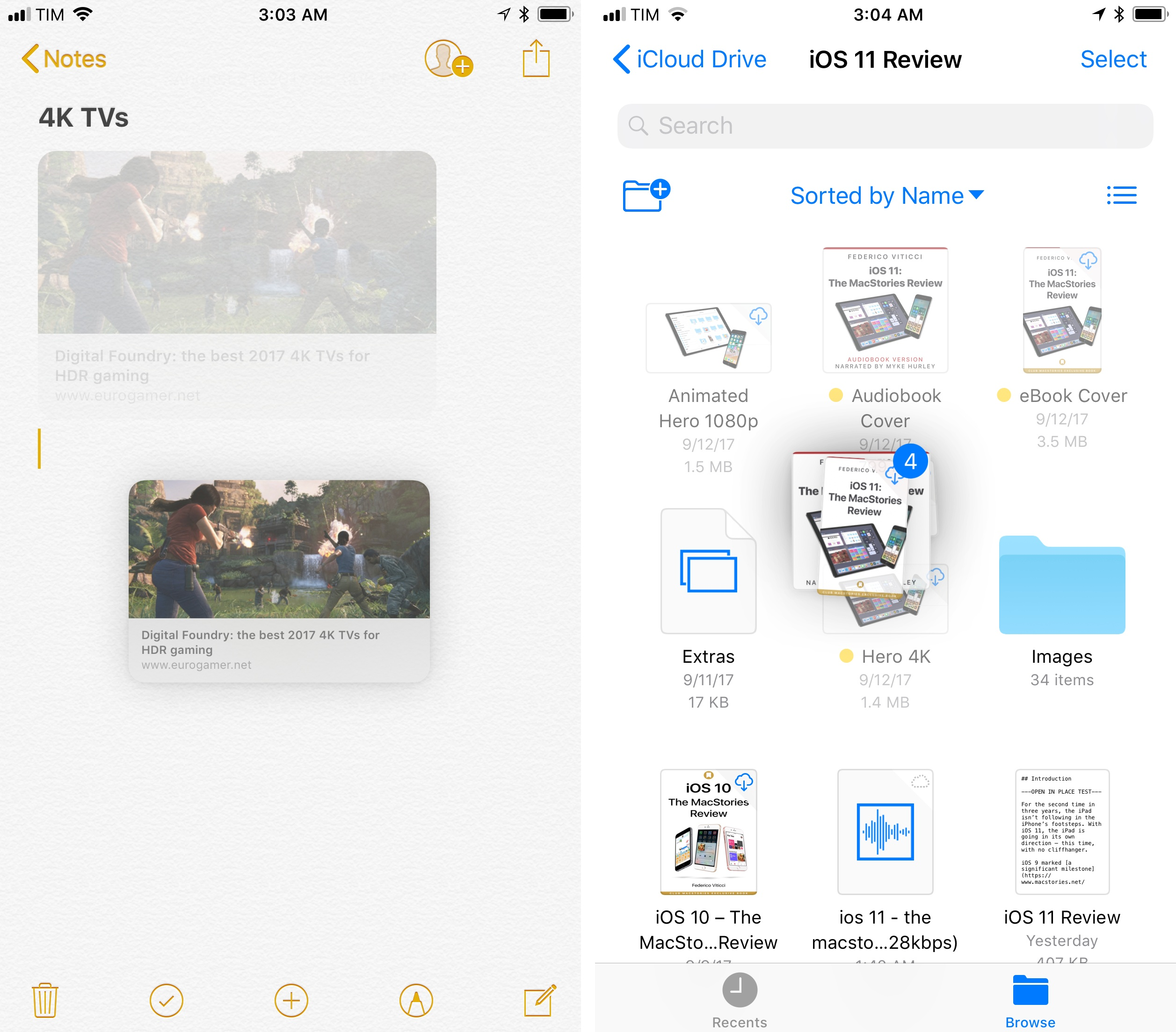Drag and drop in Notes and Files for iPhone.