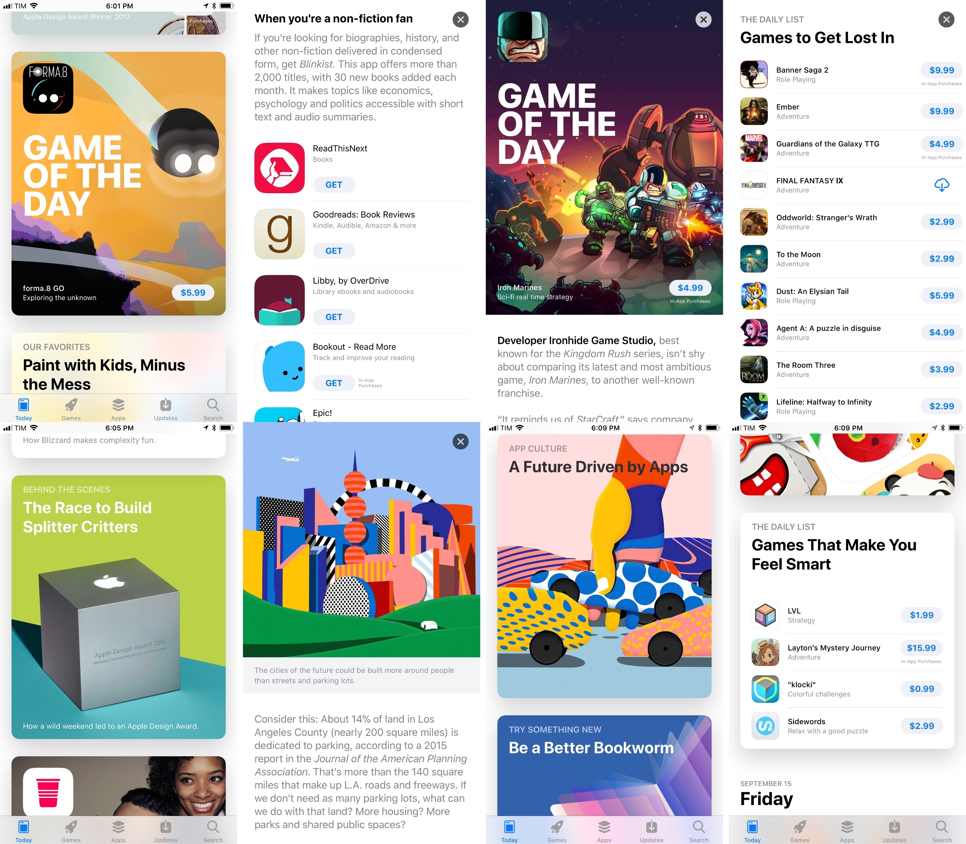 Examples of stories from the iOS 11 App Store.