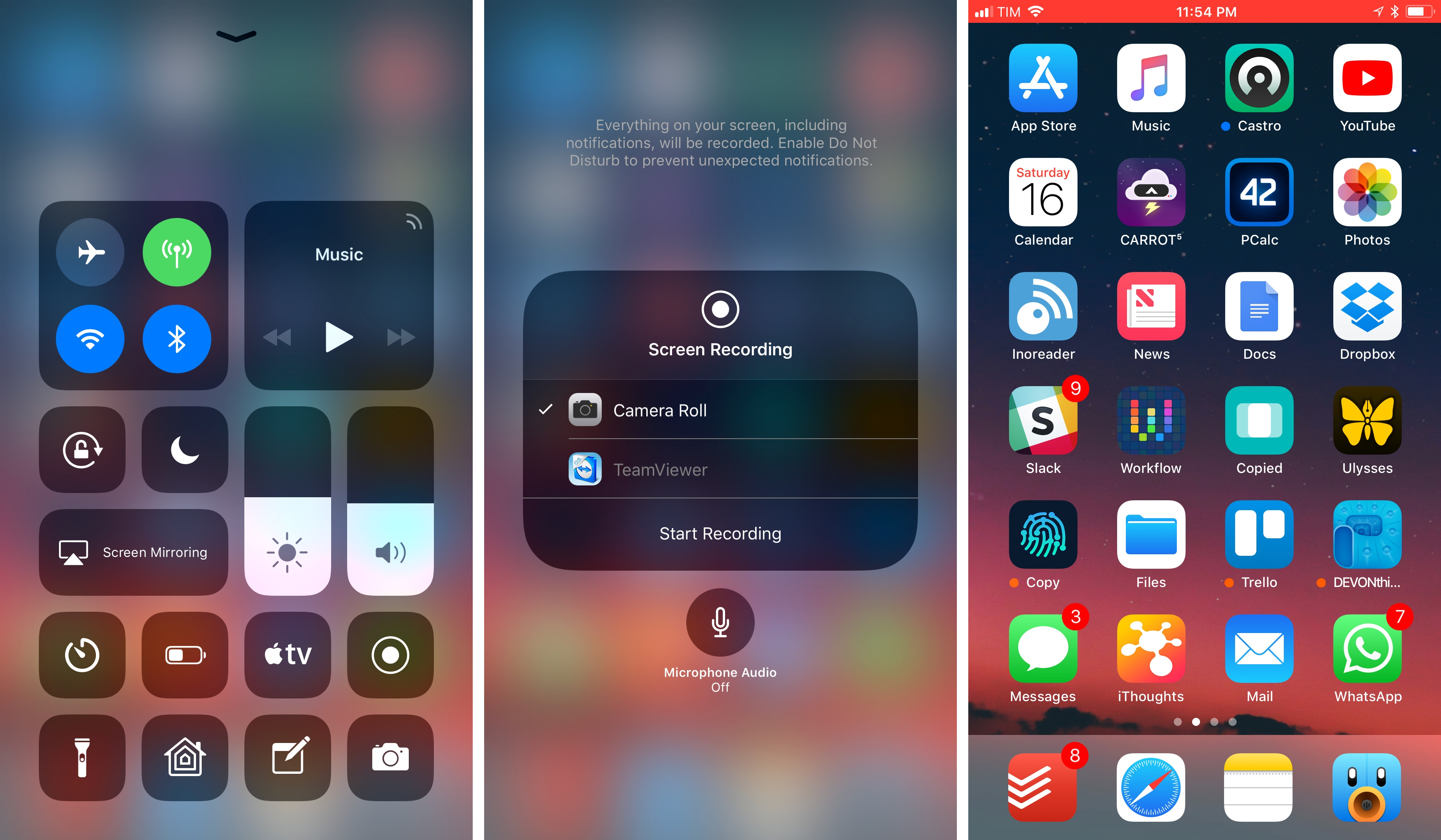 You can record your iOS device's screen from Control Center.