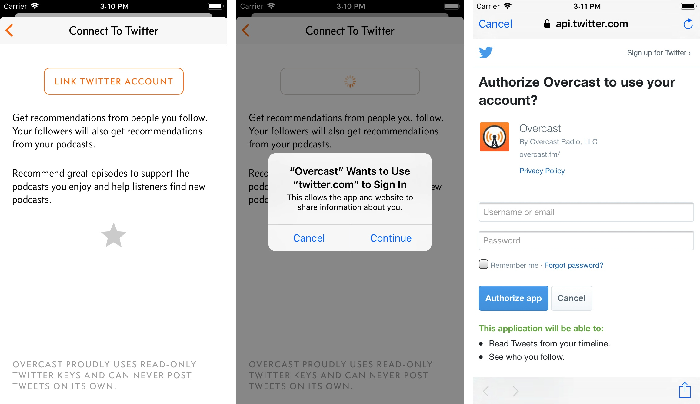 SFAuthenticationSession will be used in a future version of Overcast to connect with your Twitter account.