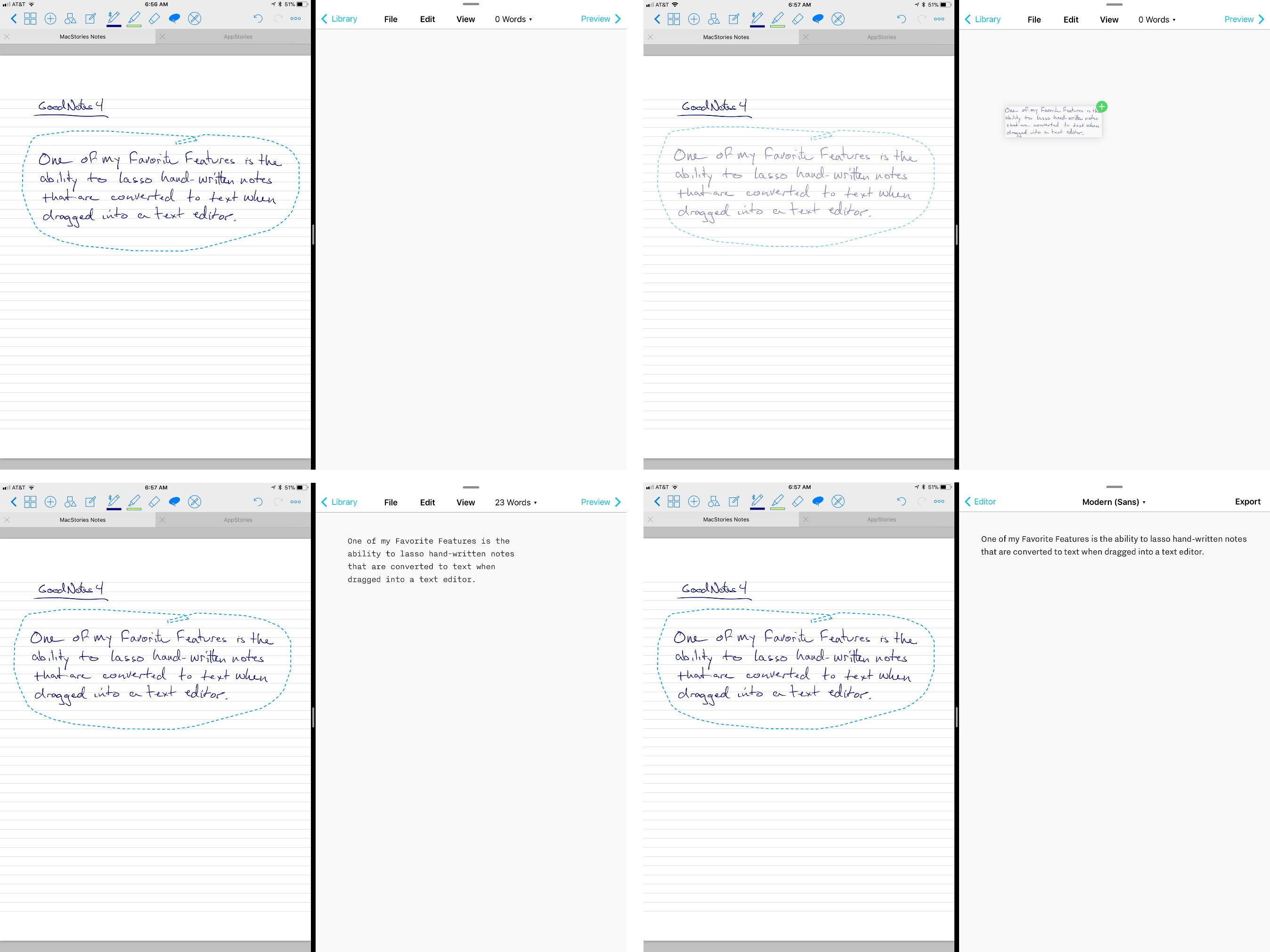 Lassoing handwritten notes and dragging them into a text editor like iA Writer, converts the notes to text.