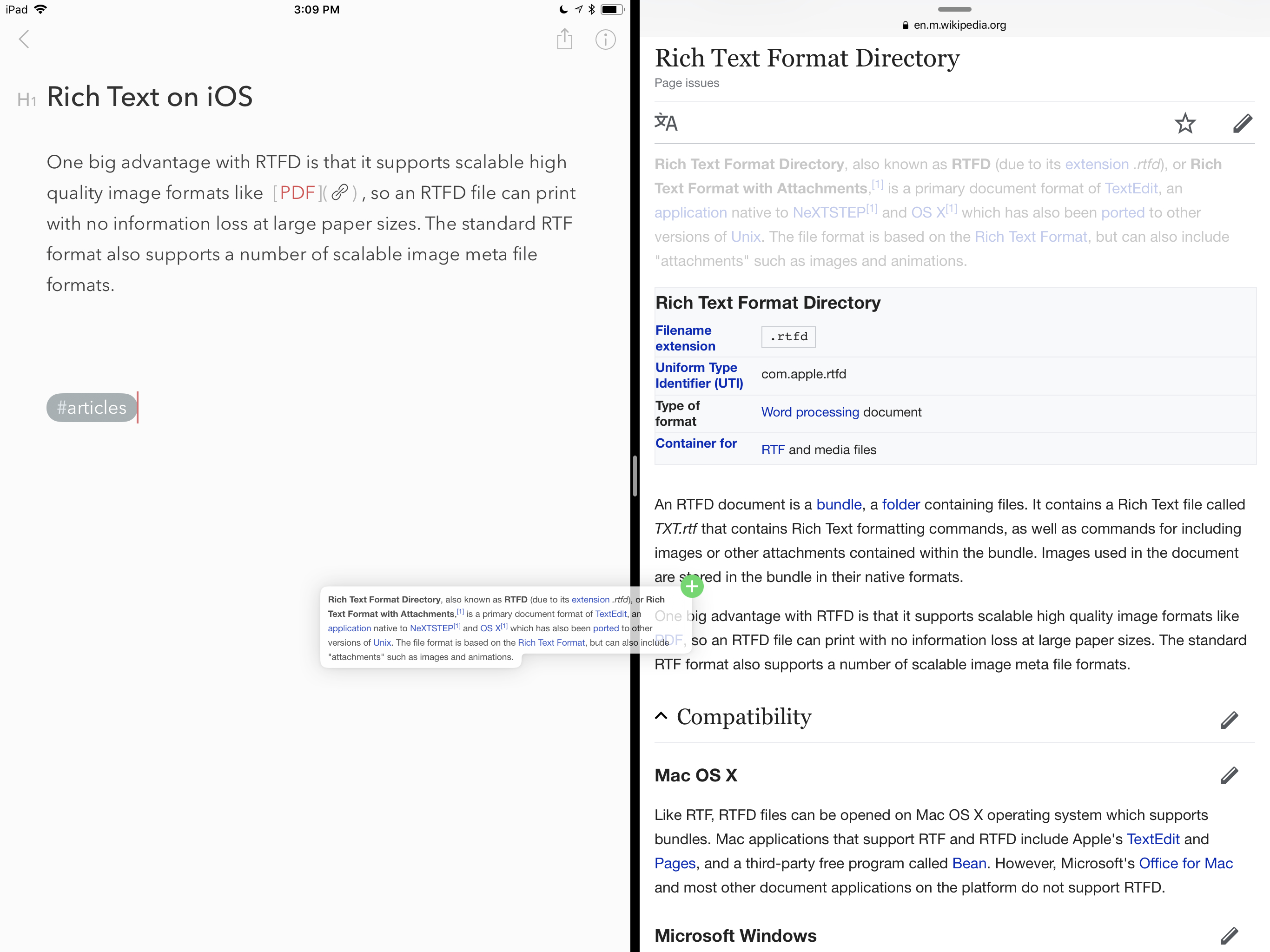 Blocks of rich text dragged from Safari retain their formatting in Bear.