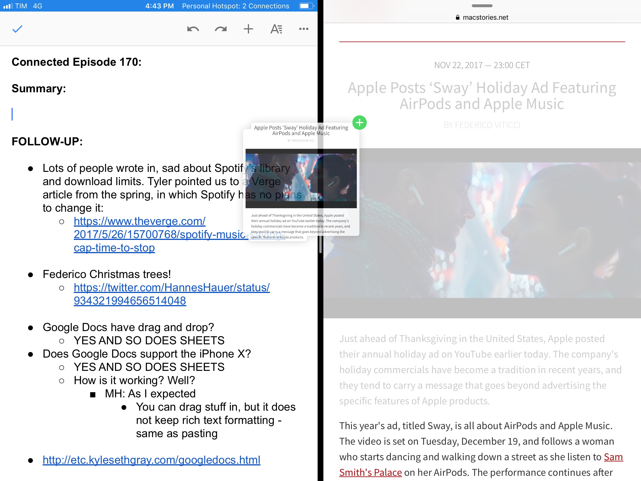 Drag and drop in Google Docs for iPad.