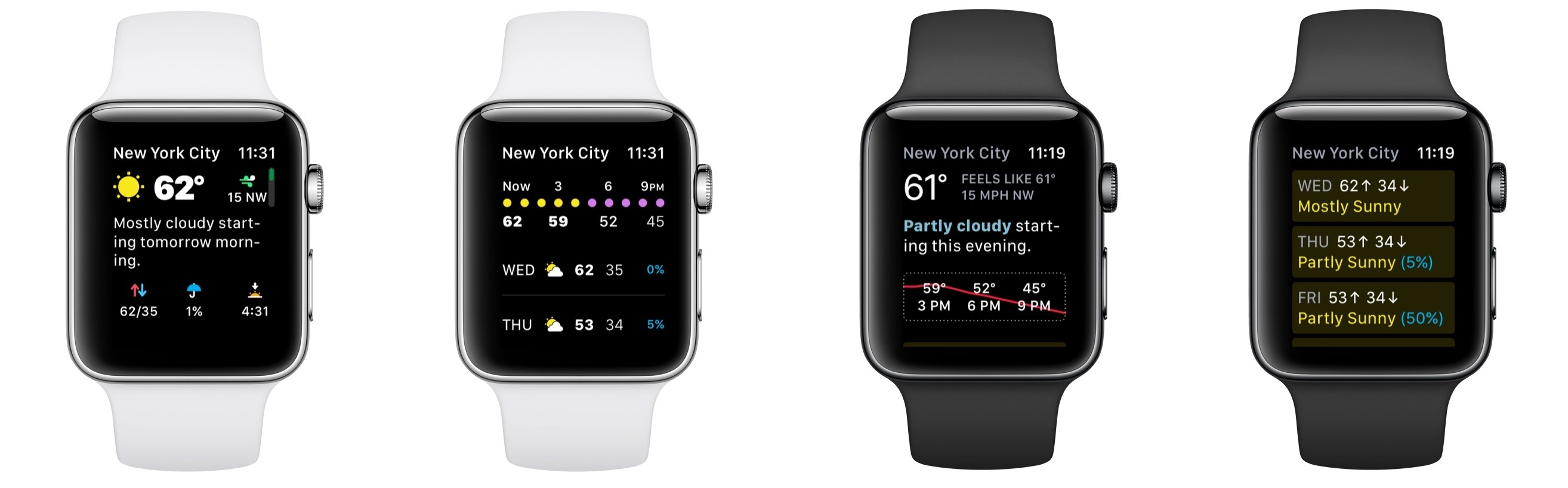 Left images: CARROT's redesigned Watch app; Right images: CARROT's previous Watch app.