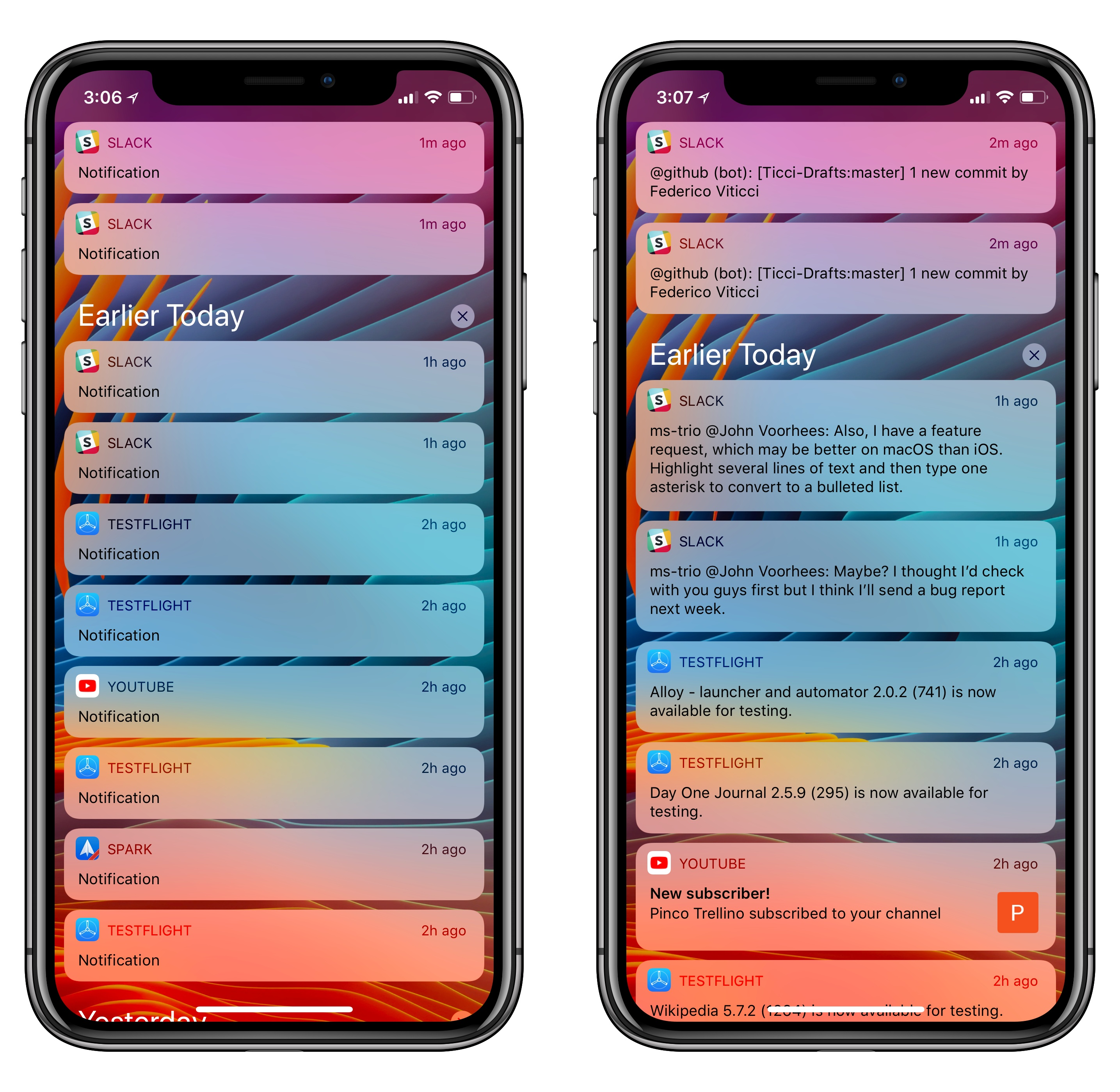 Locked notifications (left) are expanded with Face ID.