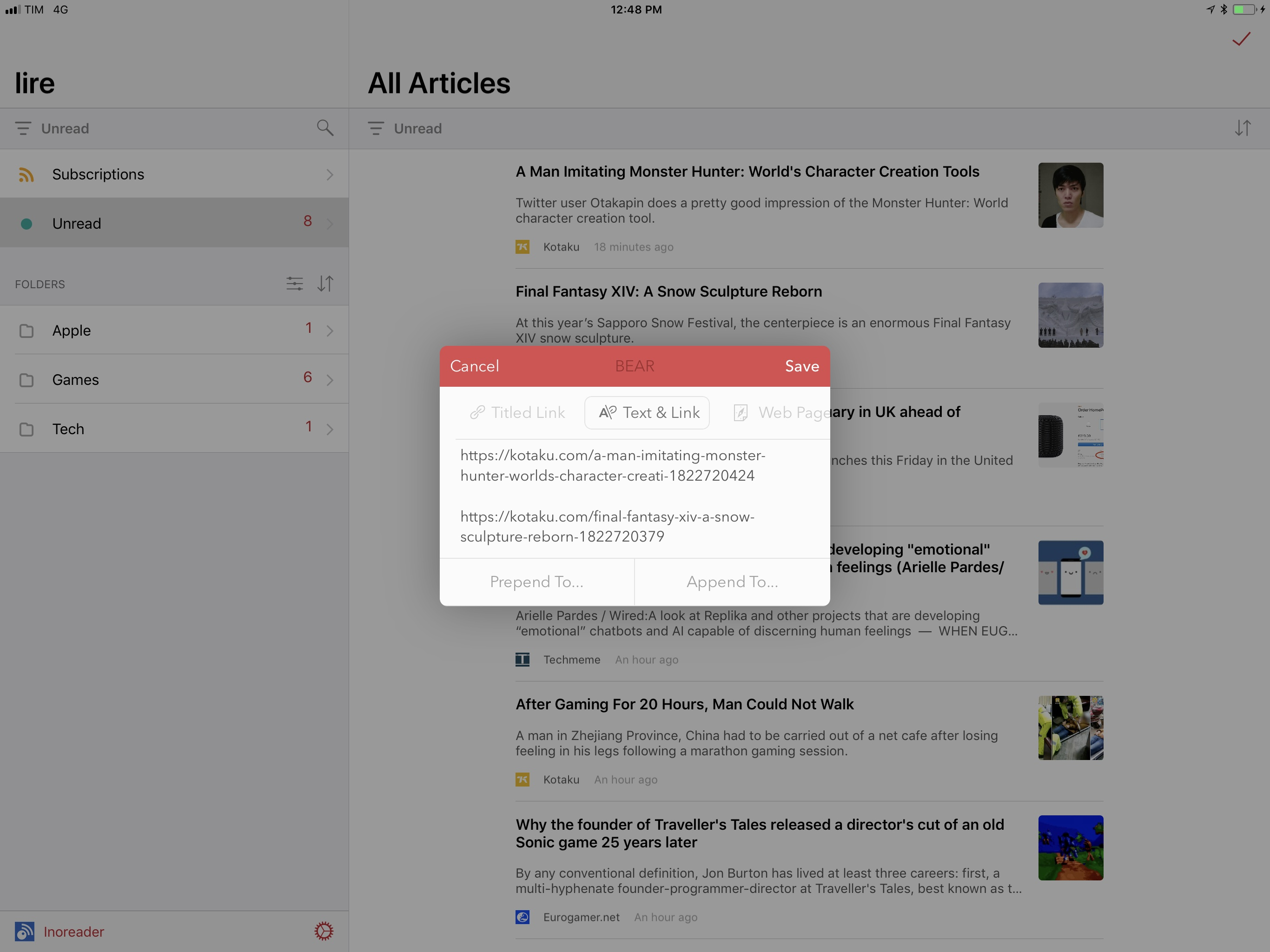 Multiple articles shared from lire's action bar with the Bear extension.