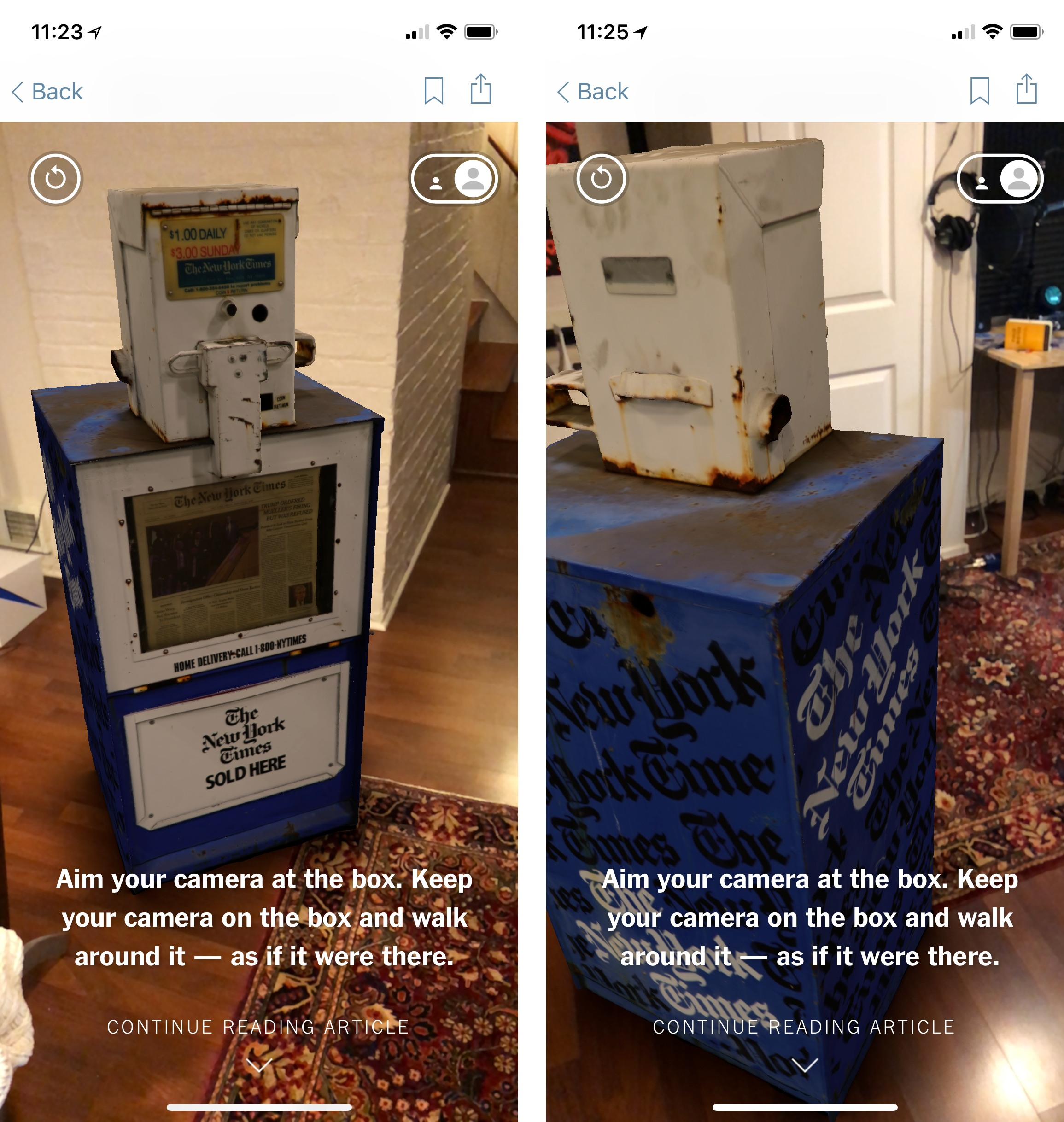 The New York Times debuted its new ARKit features with a newspaper box demo.