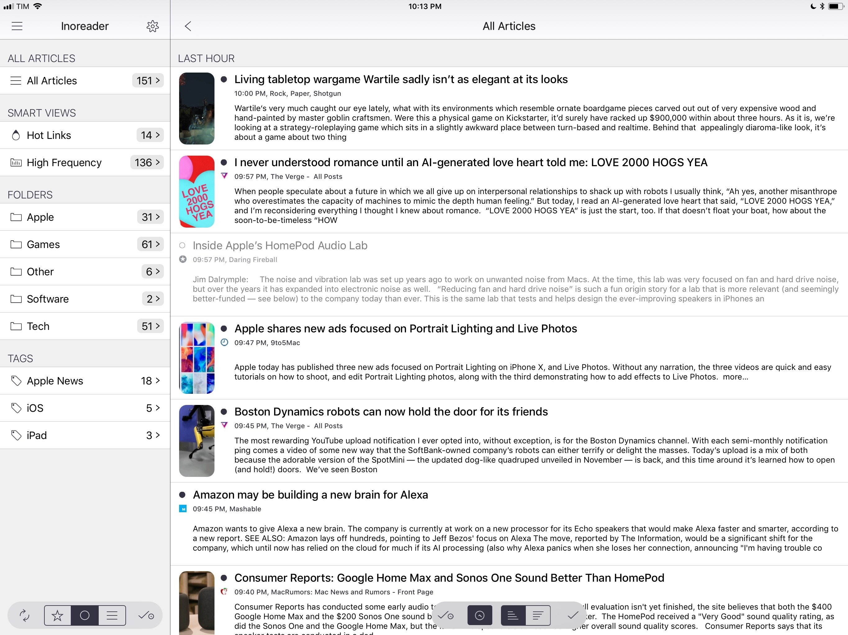"Fiery Feeds 2 running on a 12.9"" iPad Pro with the White theme and San Francisco font."