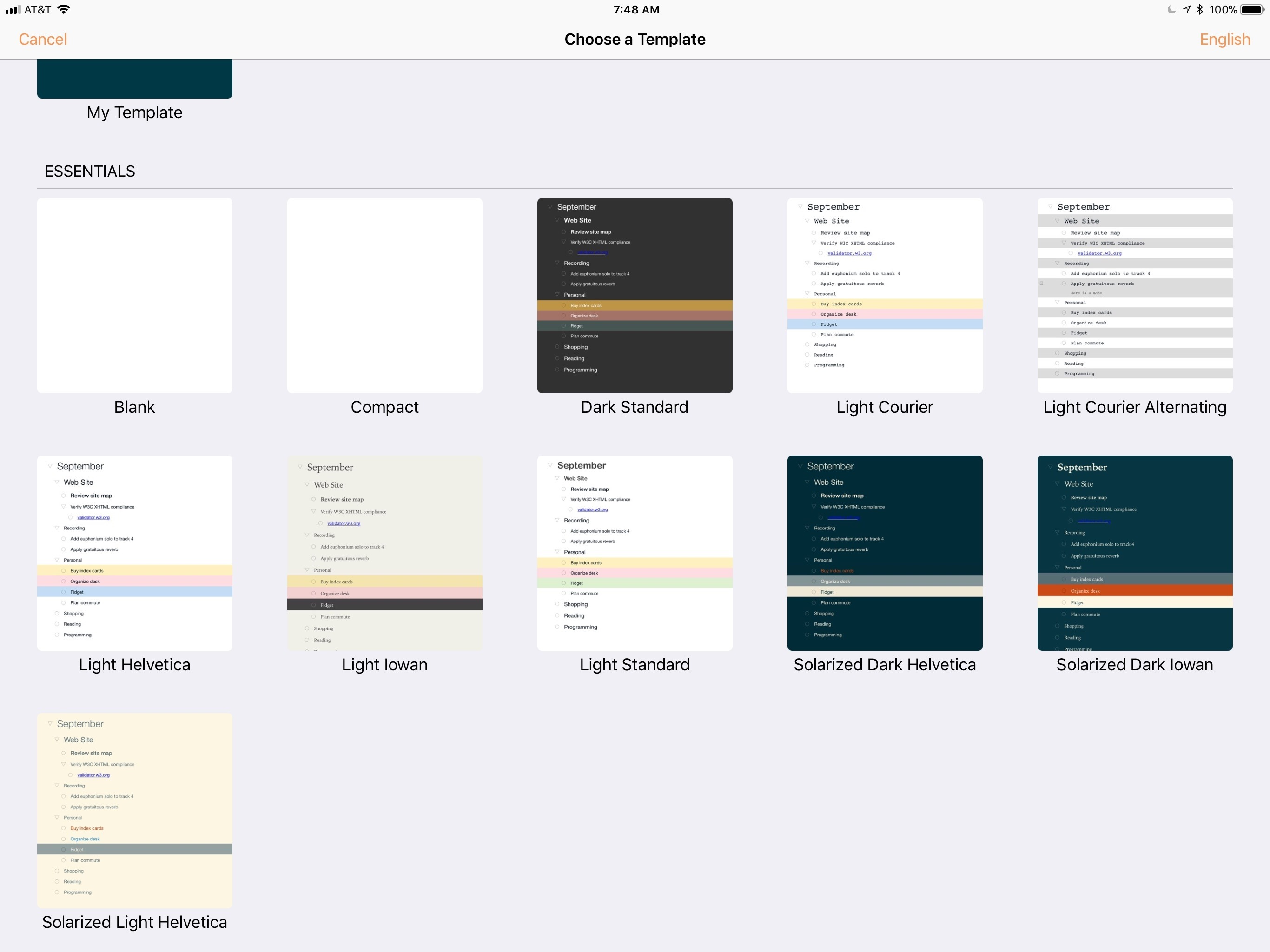 OmniOutliner's Themes