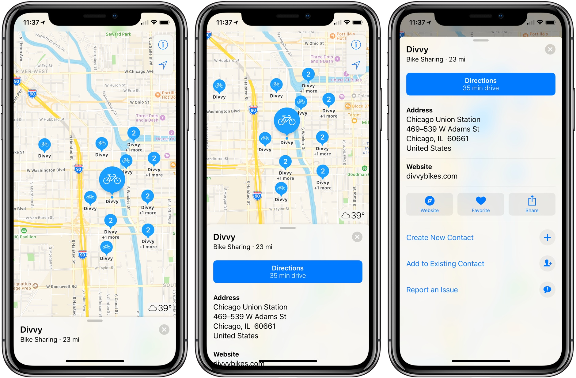 Apple Maps shows you the nearest bike-sharing stations