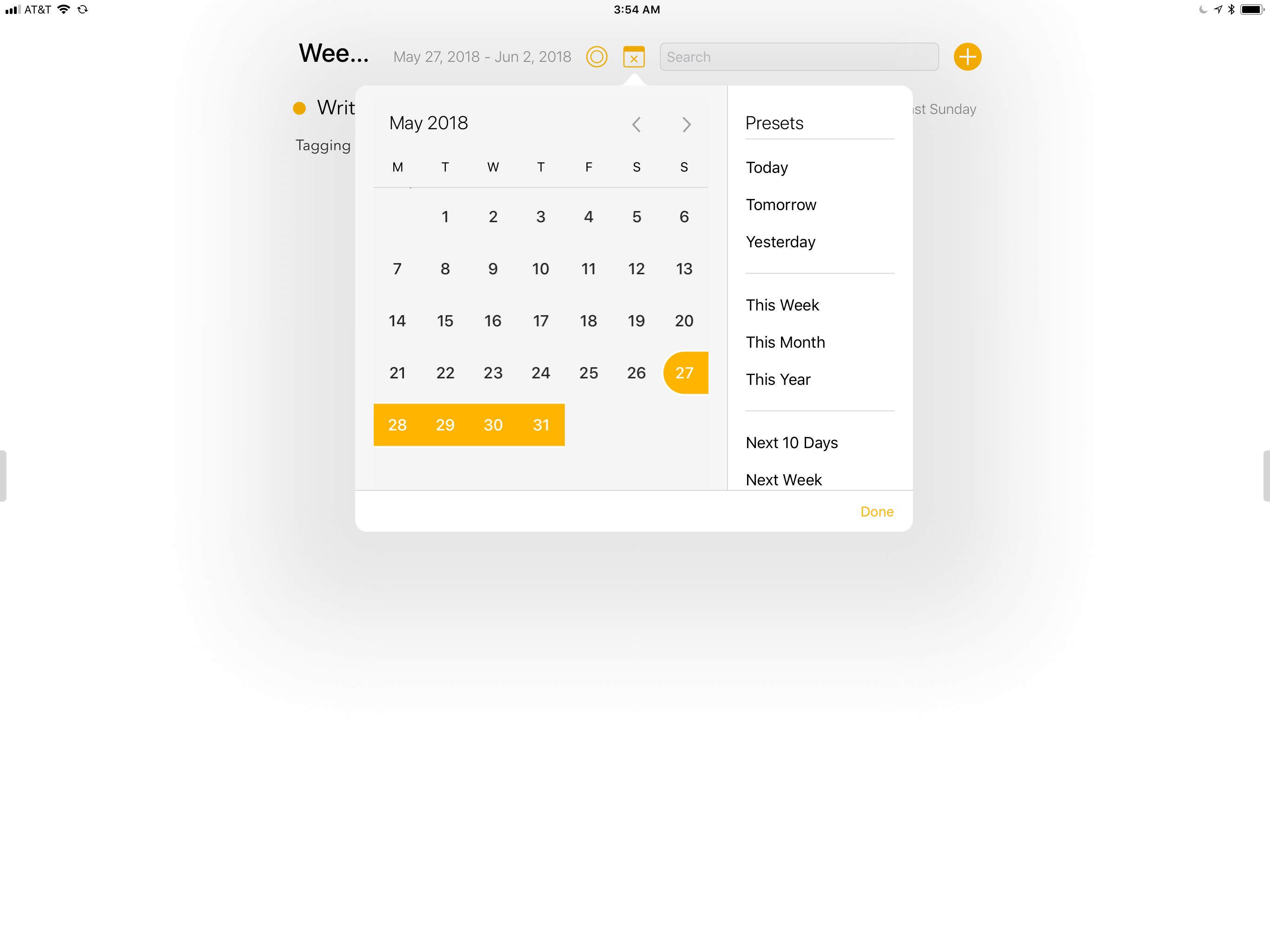 Agenda lets you search by date with prebuilt time ranges or custom time periods.