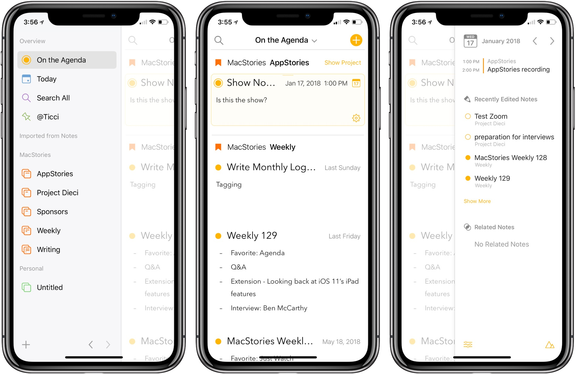 On the iPhone, Agenda uses the same sliding panels where they dominate most of the screen.