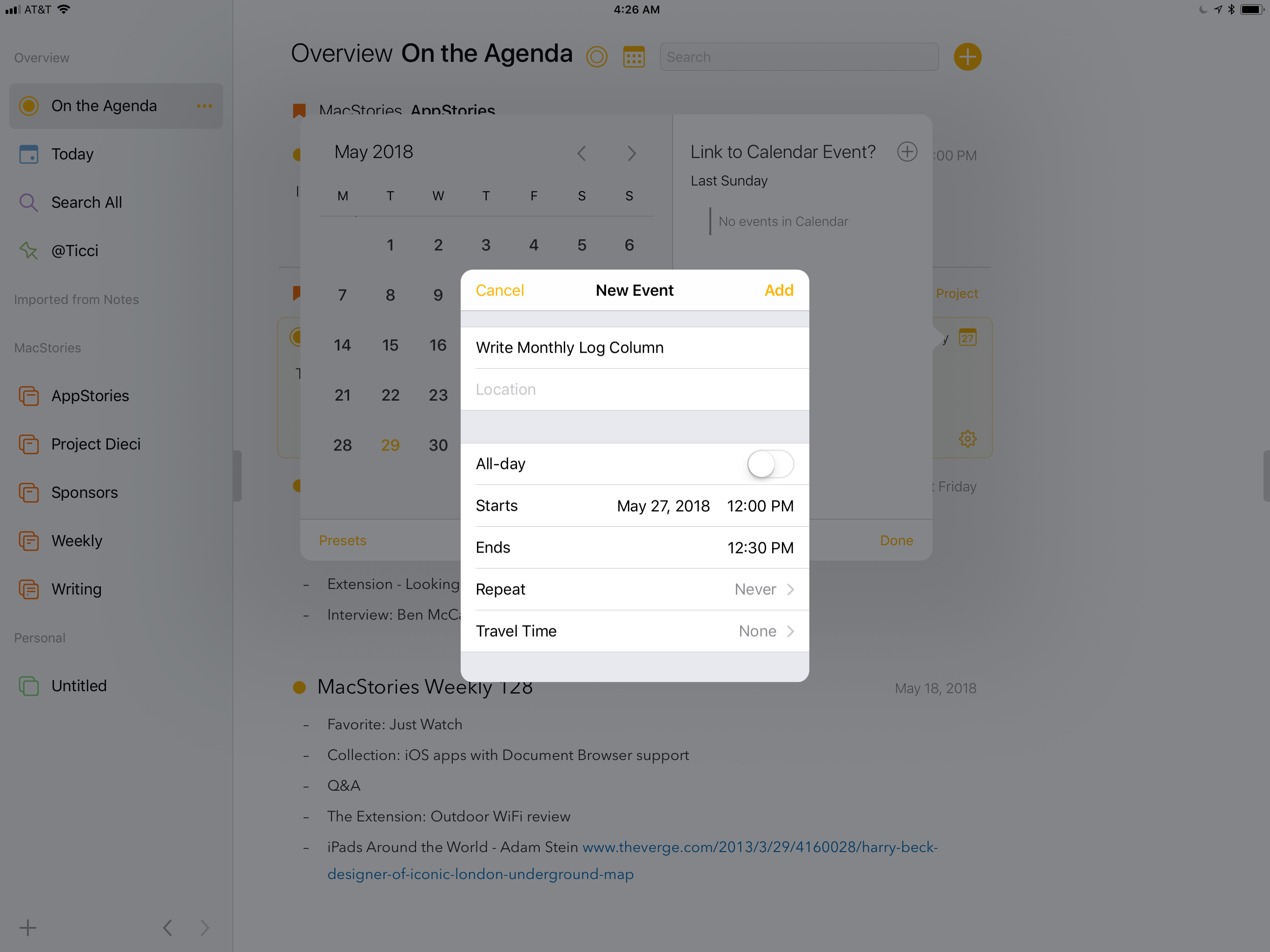 Notes can be associated with events in your calendar.