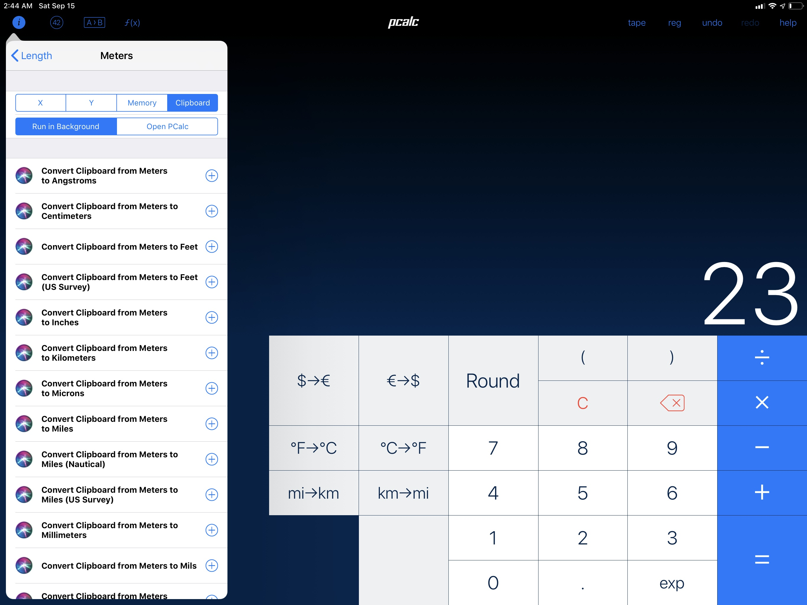 Set up this way, PCalc shortcuts – whether in Siri or Search – can operate on the contents of the clipboard and return results without launching the app.