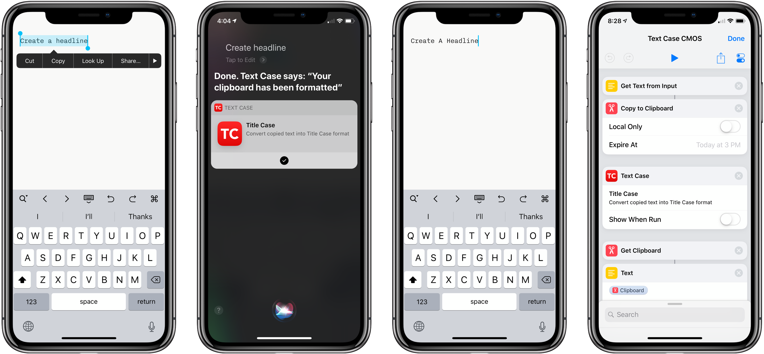 Using Text Case with Siri and embedding it in a custom shortcut.