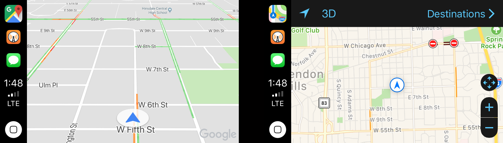Google Maps (left) and Apple Maps (right).