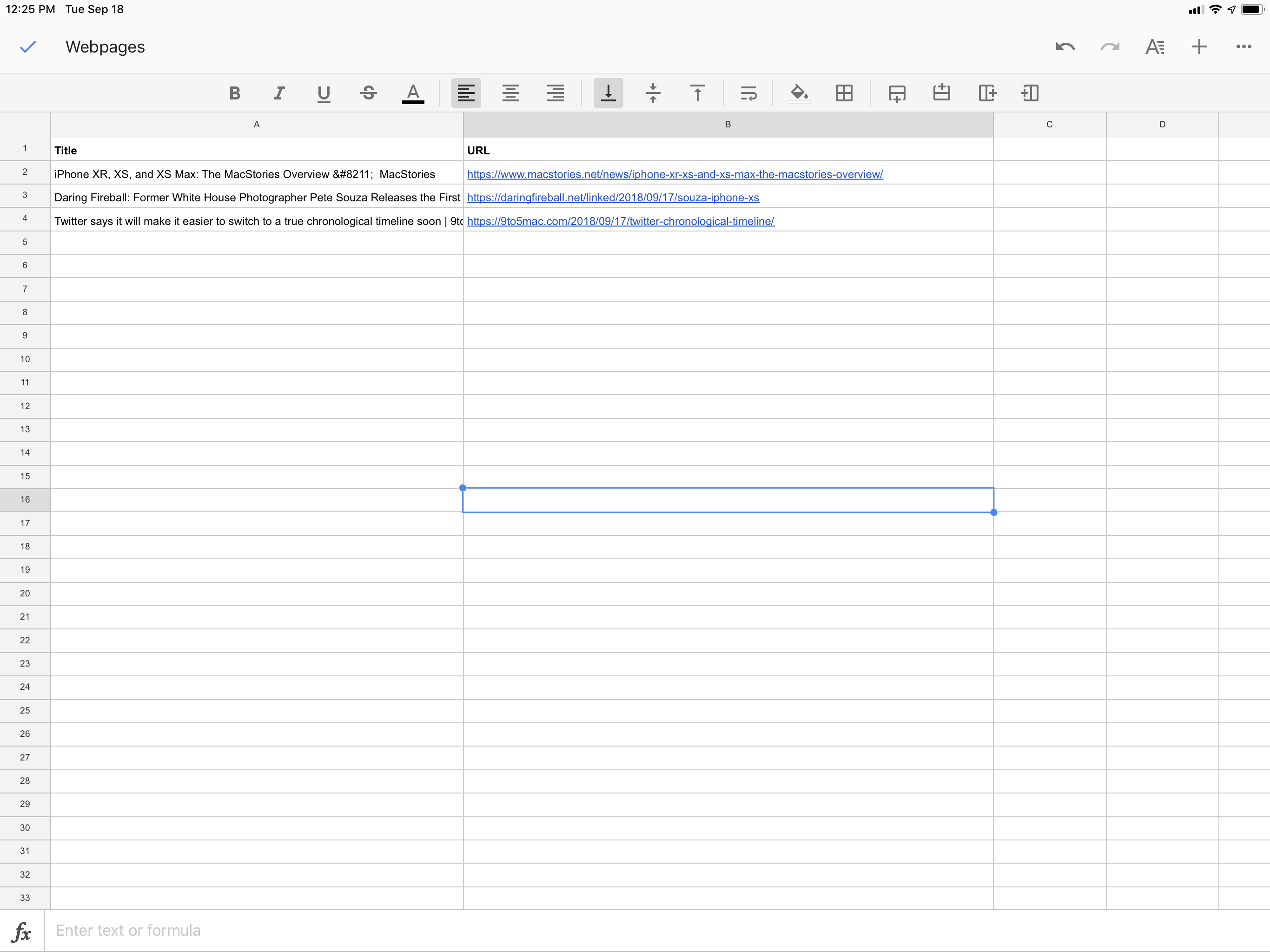 Links appended to a Google spreadsheet via a Siri shortcut and IFTTT.