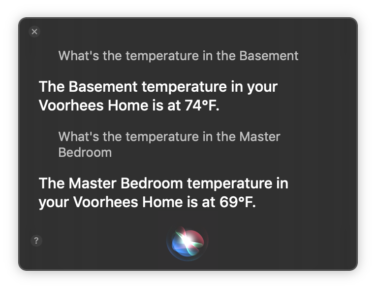 It's sure nice to have Siri support HomeKit on the Mac.