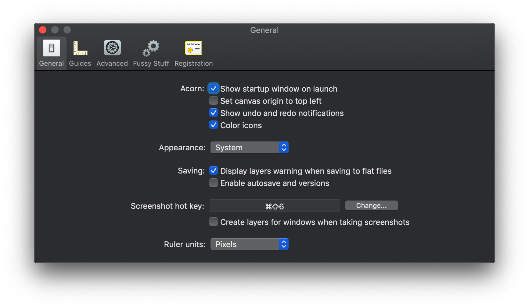Acorn gives users the option to follow the system-set appearance or force Light or Dark Mode regardless of system settings.