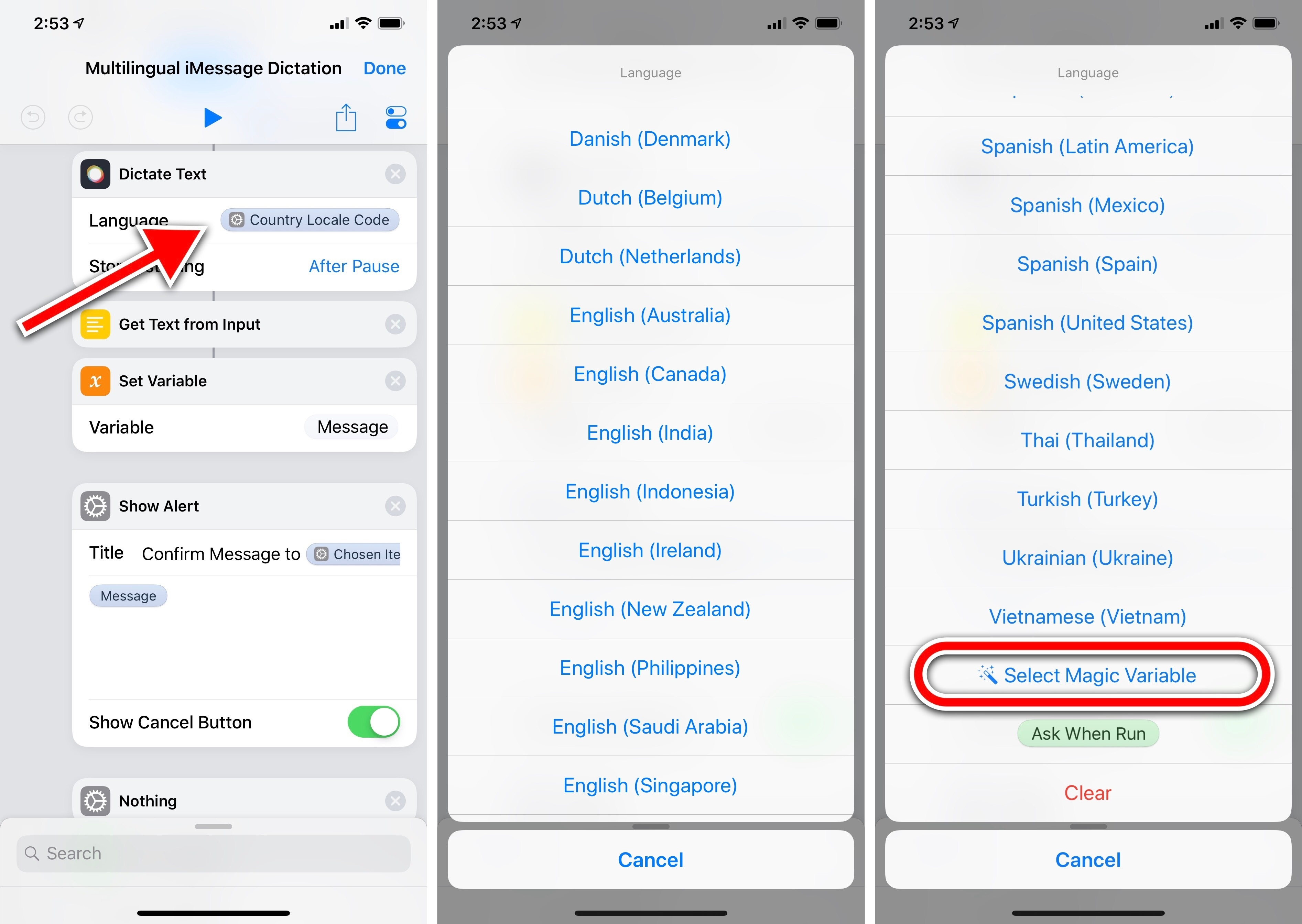 How to Dictate iMessages in Multiple Languages from a Widget with
