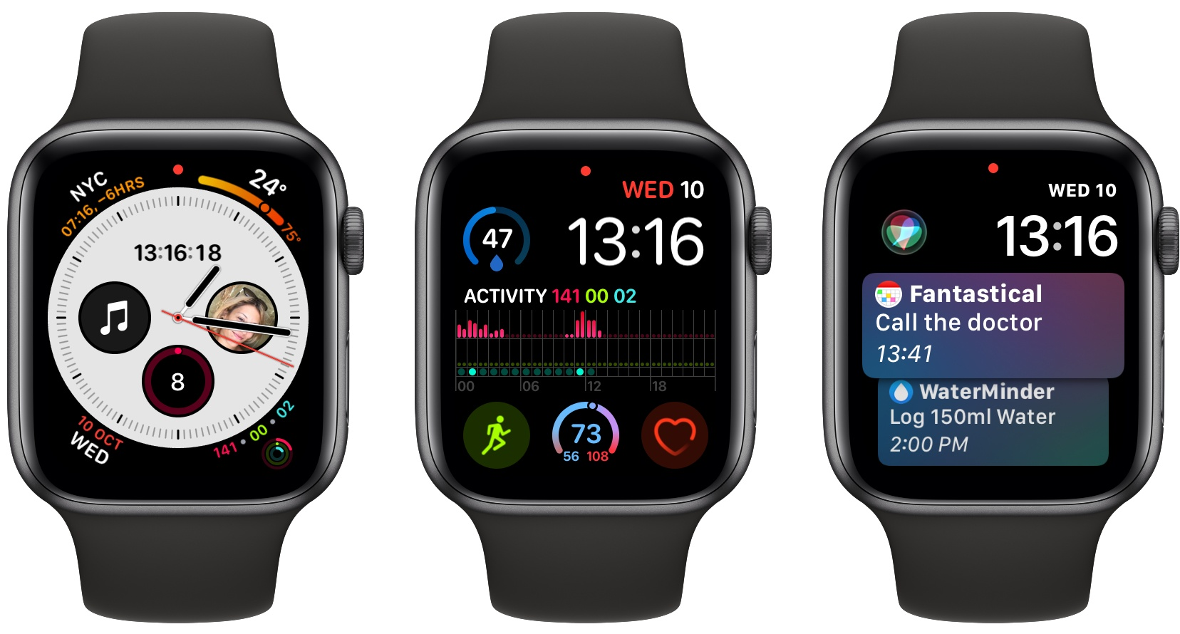 Apple Watch Series 4 screenshots, framed with Shortcuts.