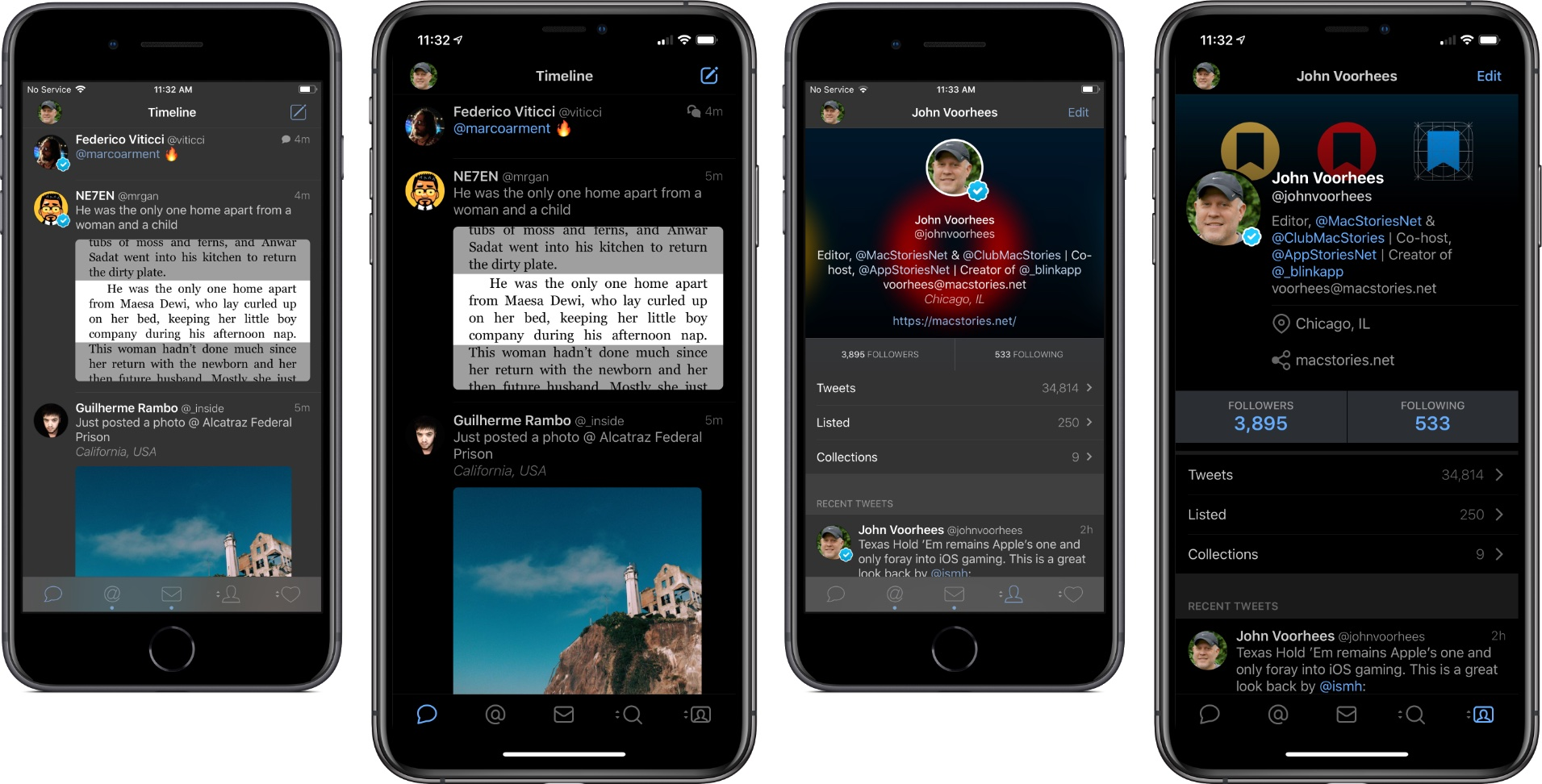A comparison of Tweetbot 4's timeline and profile views to the new ones in Tweetbot 5.