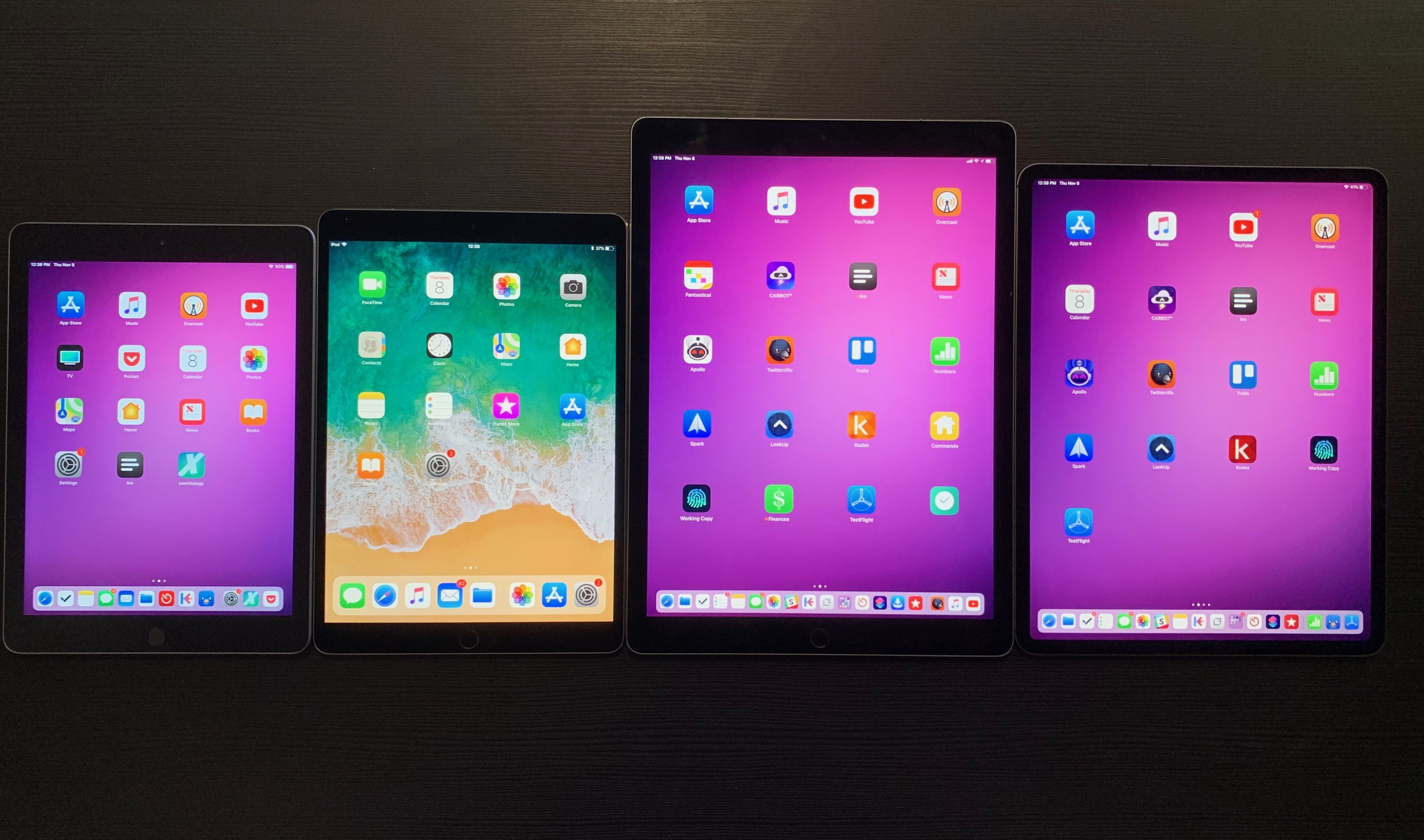"Left to right: the 6th generation iPad, 10.5"" iPad Pro, 2017 12.9"" iPad Pro, and the 2018 12.9"" iPad Pro."