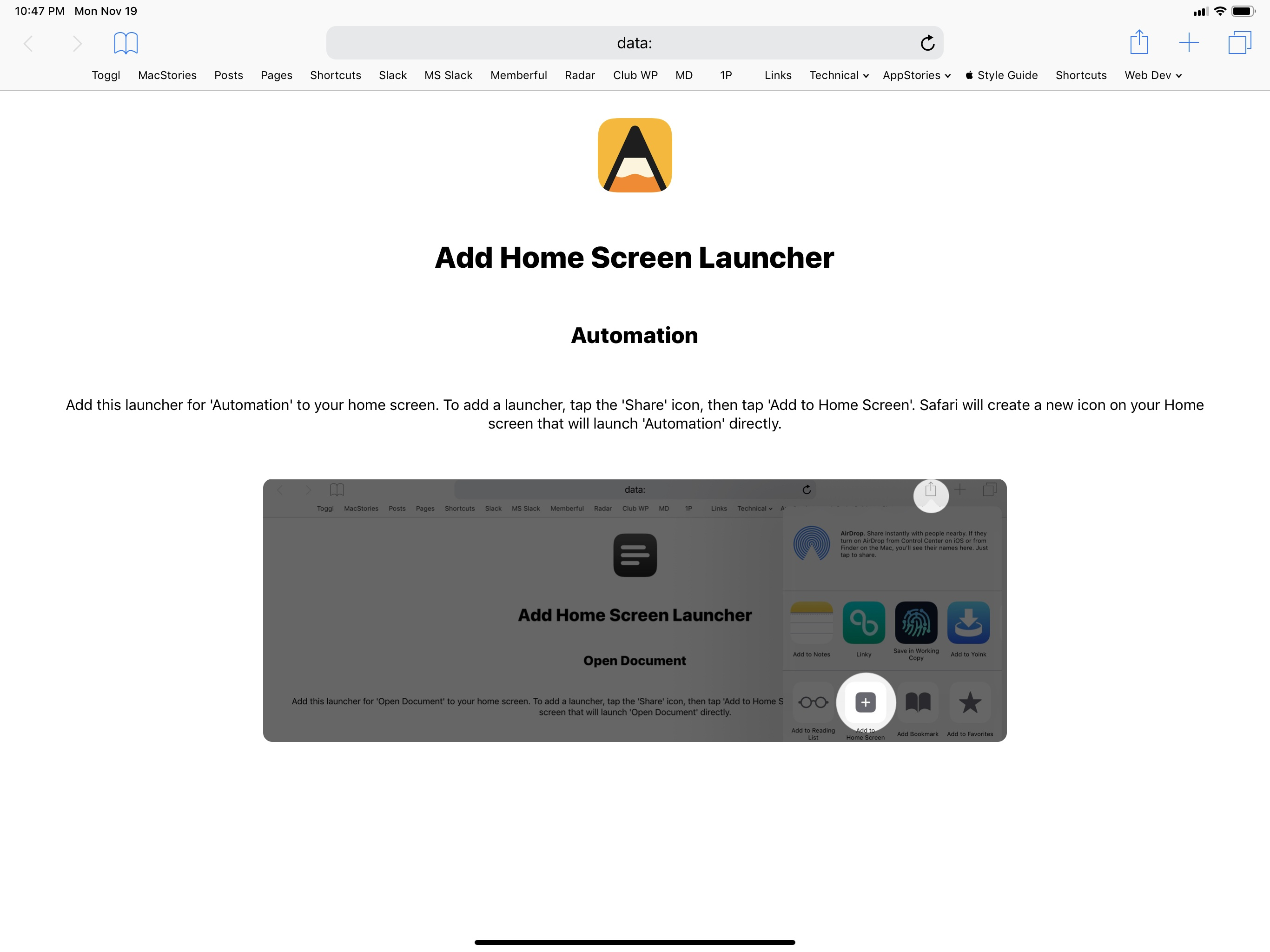 A custom webpage launched by the shortcut with instructions on how to add a launcher to the home screen.