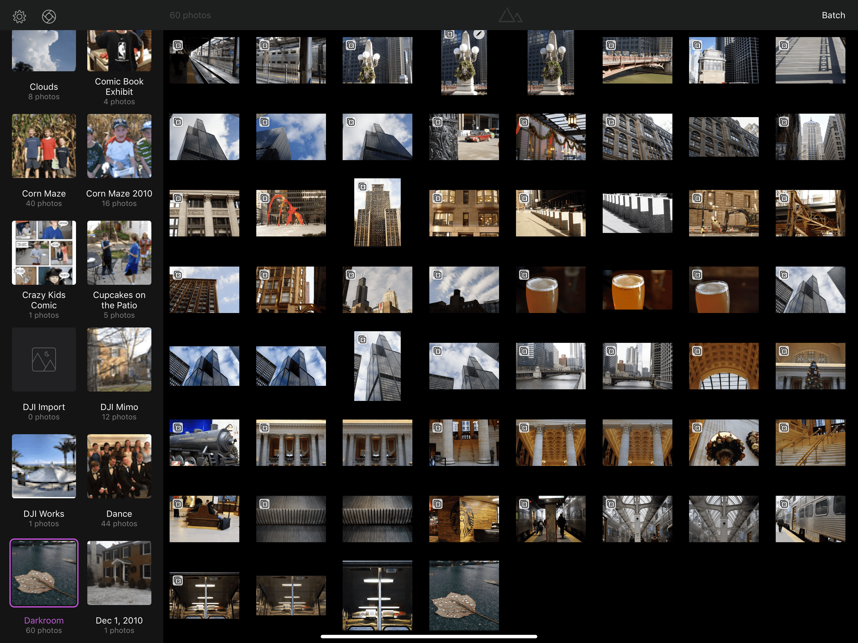 Darkroom's library view includes albums on the left and thumbnails of your photos on the right.