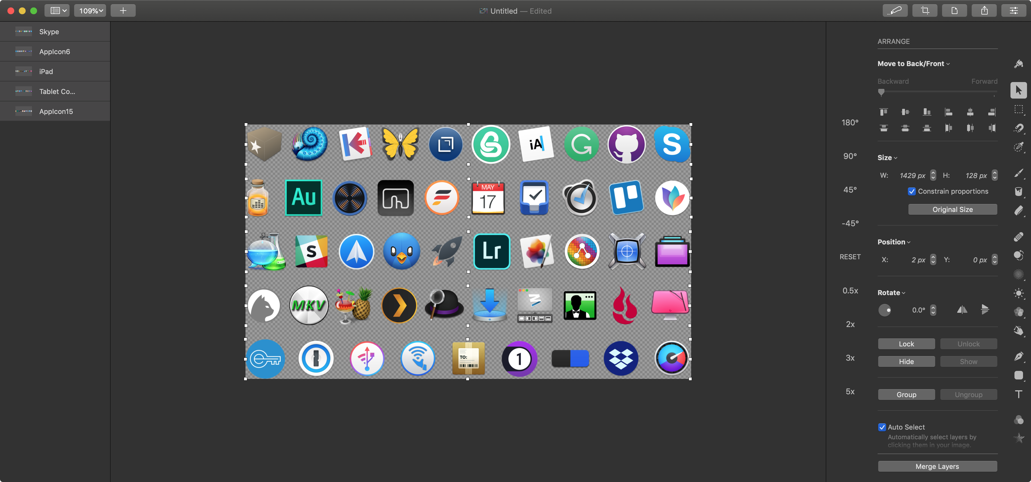 Laying out must-have icons in Pixelmator Pro.