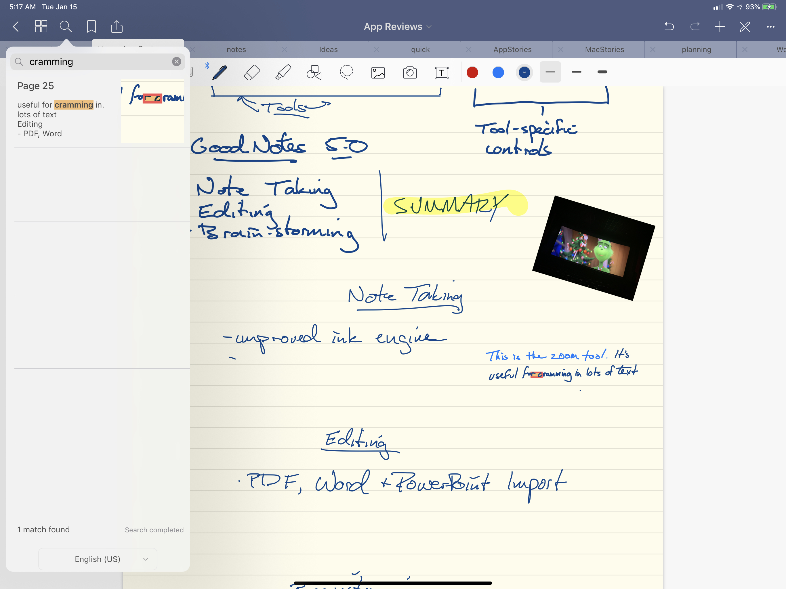 Search is also available inside individual notebooks.