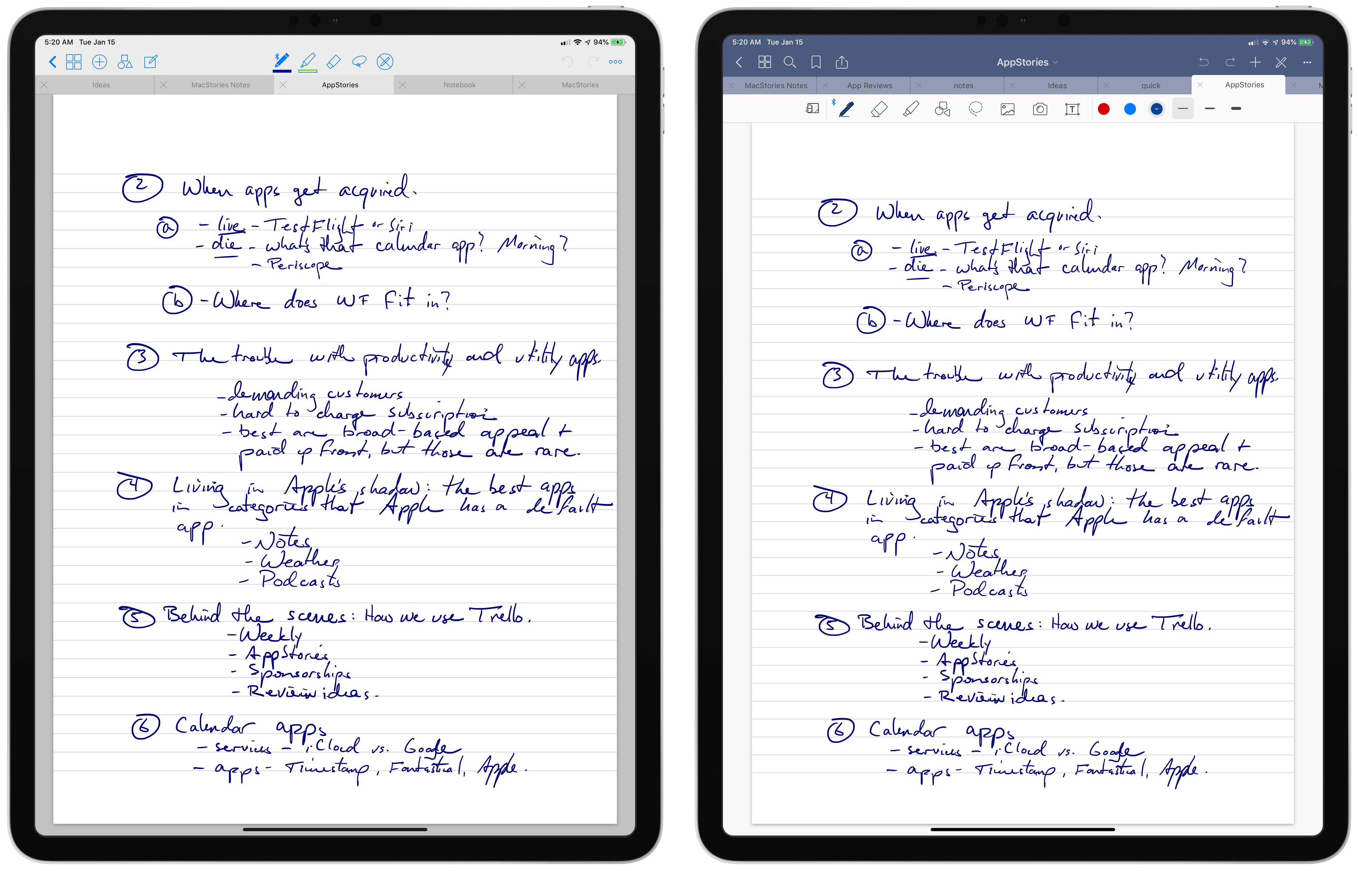 GoodNotes 4 (left) and GoodNotes 5 (right).