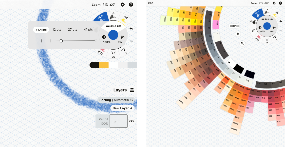 Adjusting line width (left) and using the color picker (right).