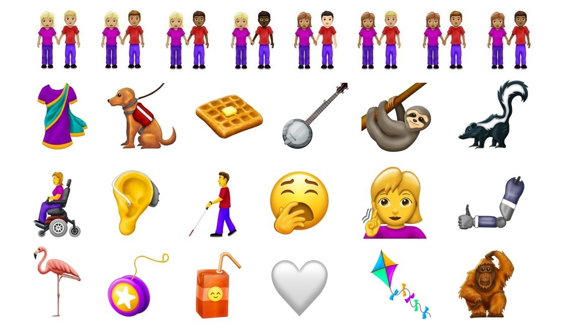 Representations of what to expect from 2019's new emoji, created by Emojipedia.