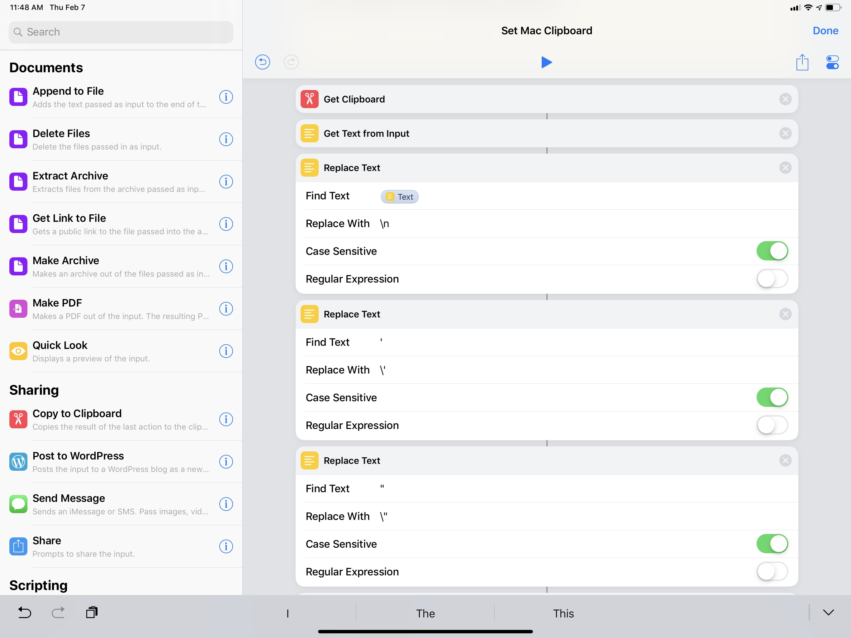 Cleaning up the iOS clipboard before sending it to a Mac.