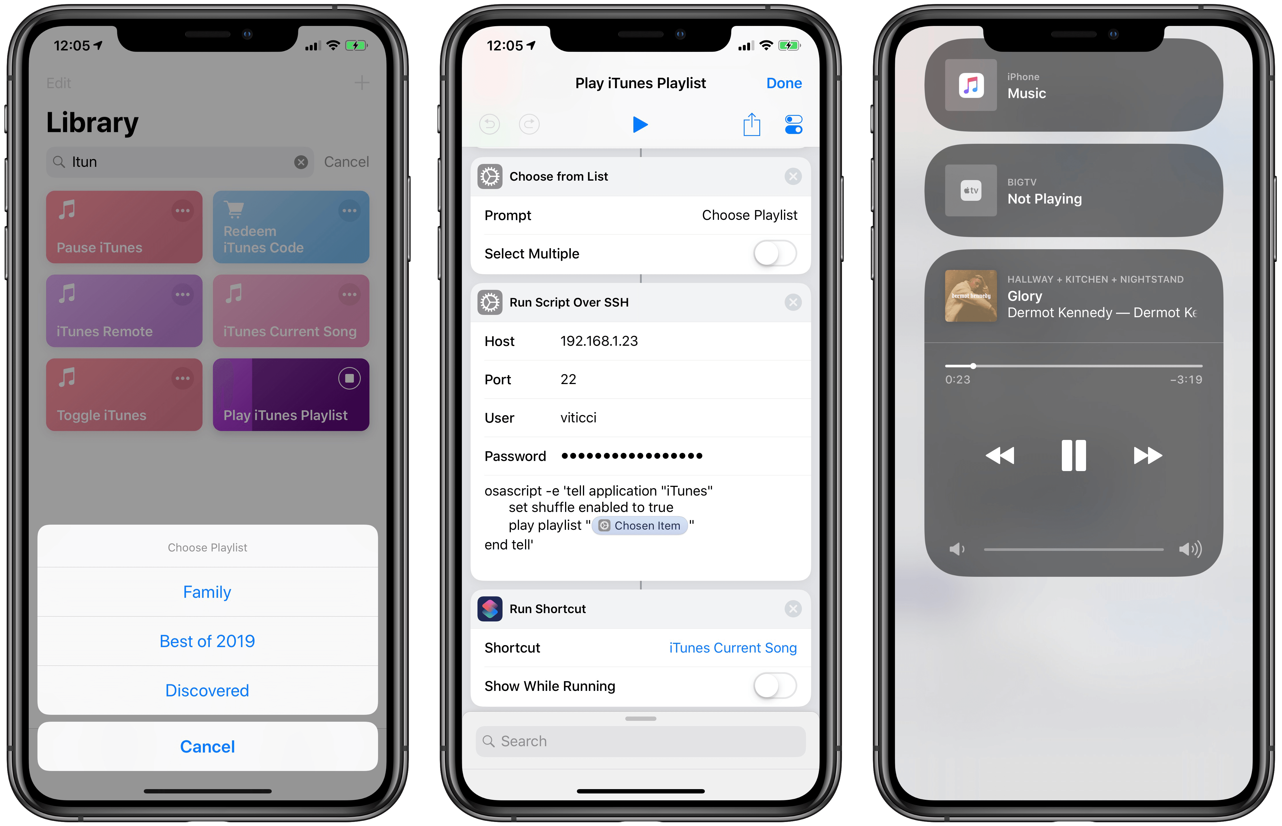 After picking a playlist from Shortcuts, you'll be able to see the song playing on HomePod (via iTunes) from Control Center.