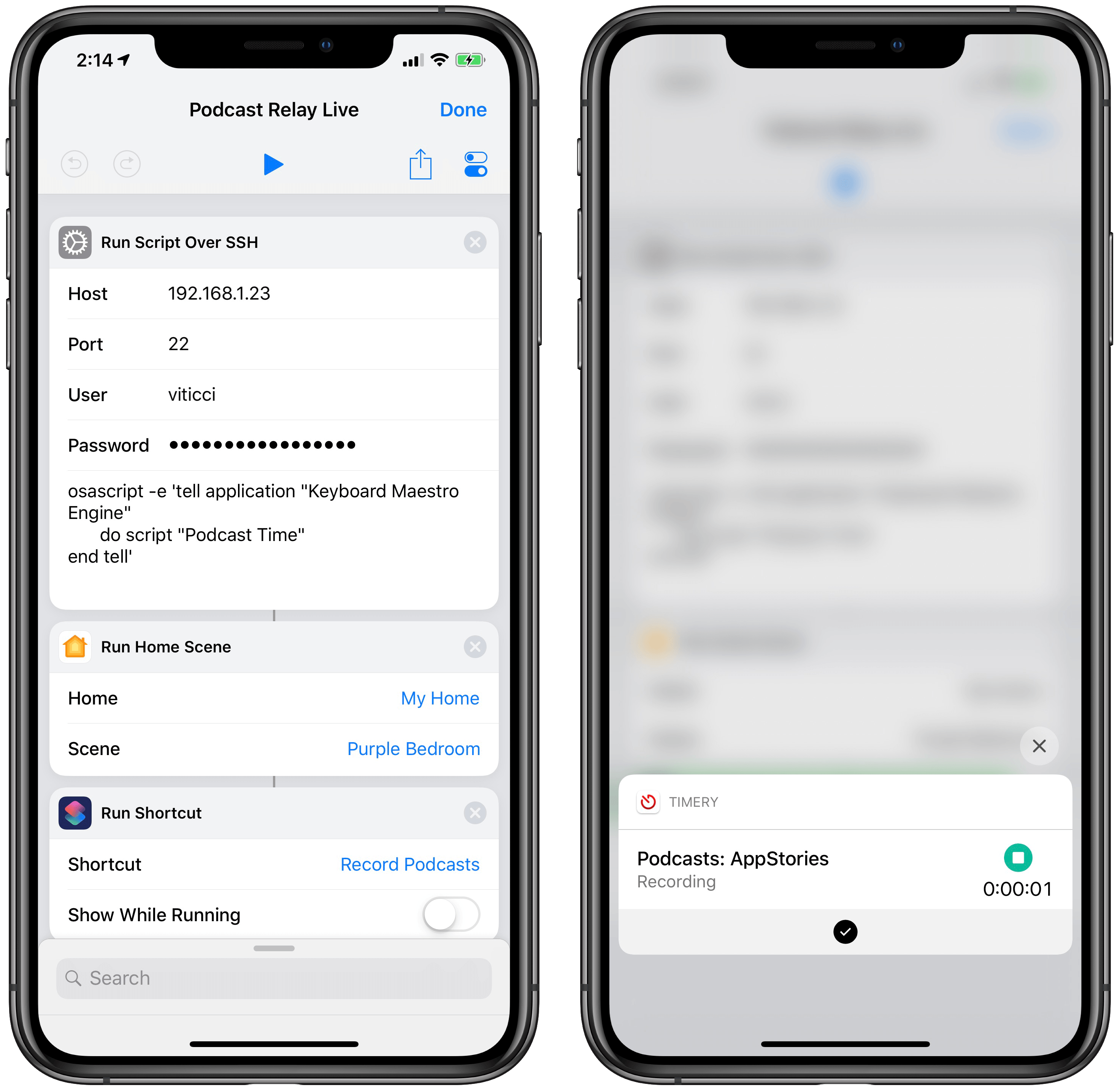 When I run the shortcut on my iPhone, nothing else is shown besides the Toggl shortcut started at the end.