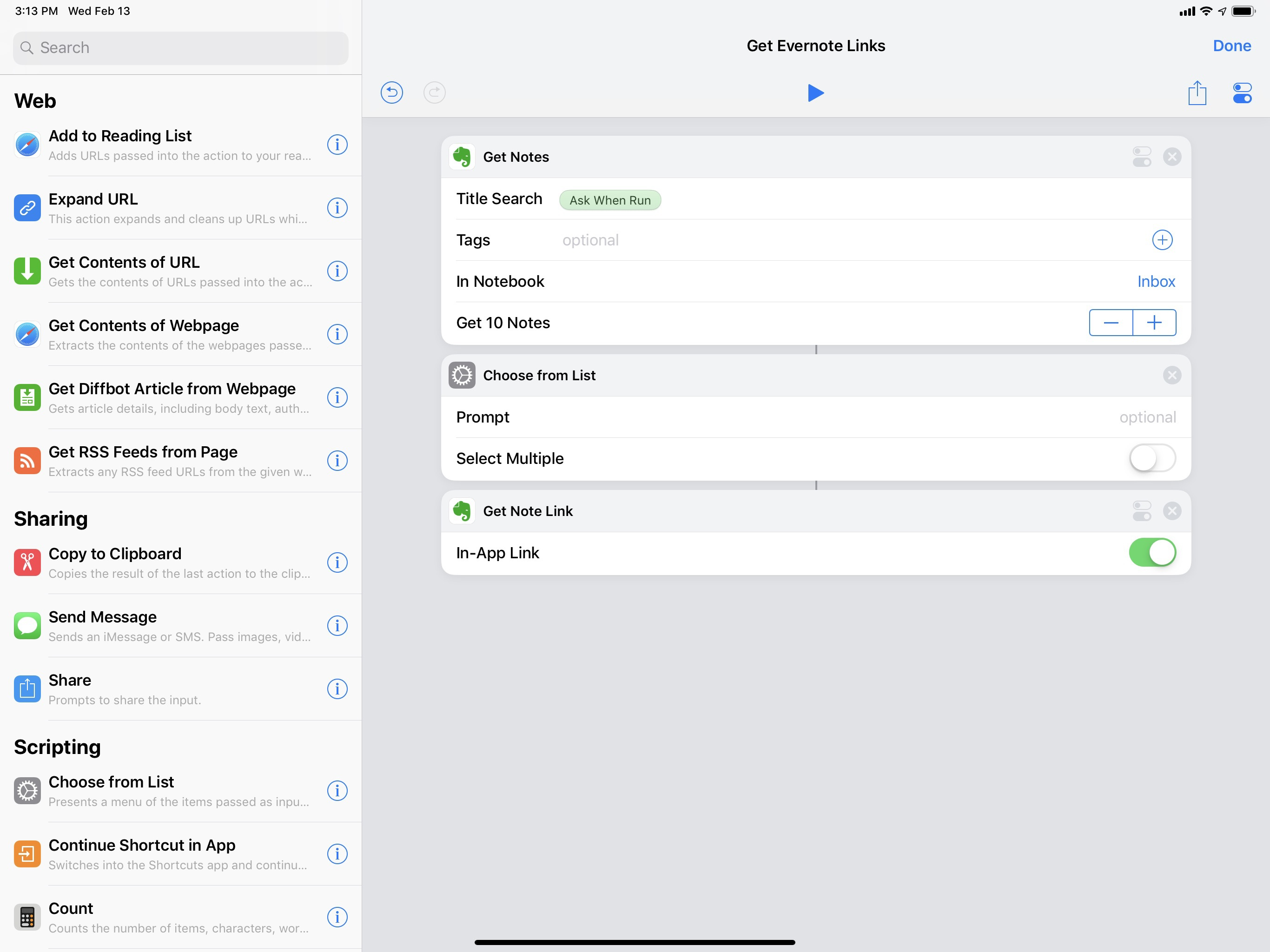 With three actions, you can build a shortcut that searches your Evernote account for specific notes.