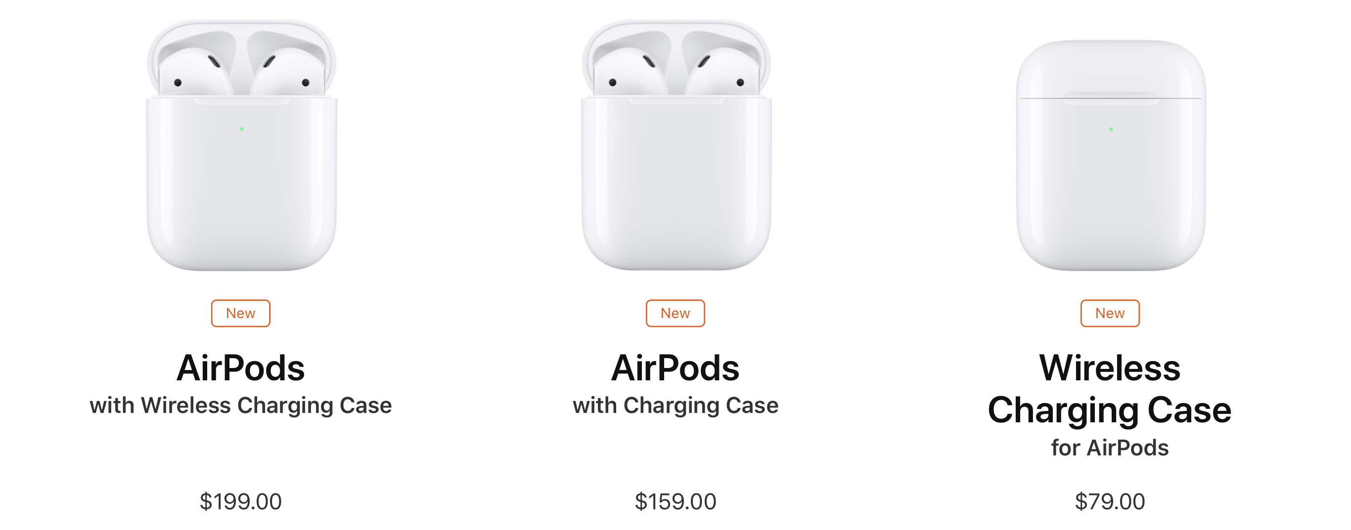 Purchase options for the second-generation AirPods.