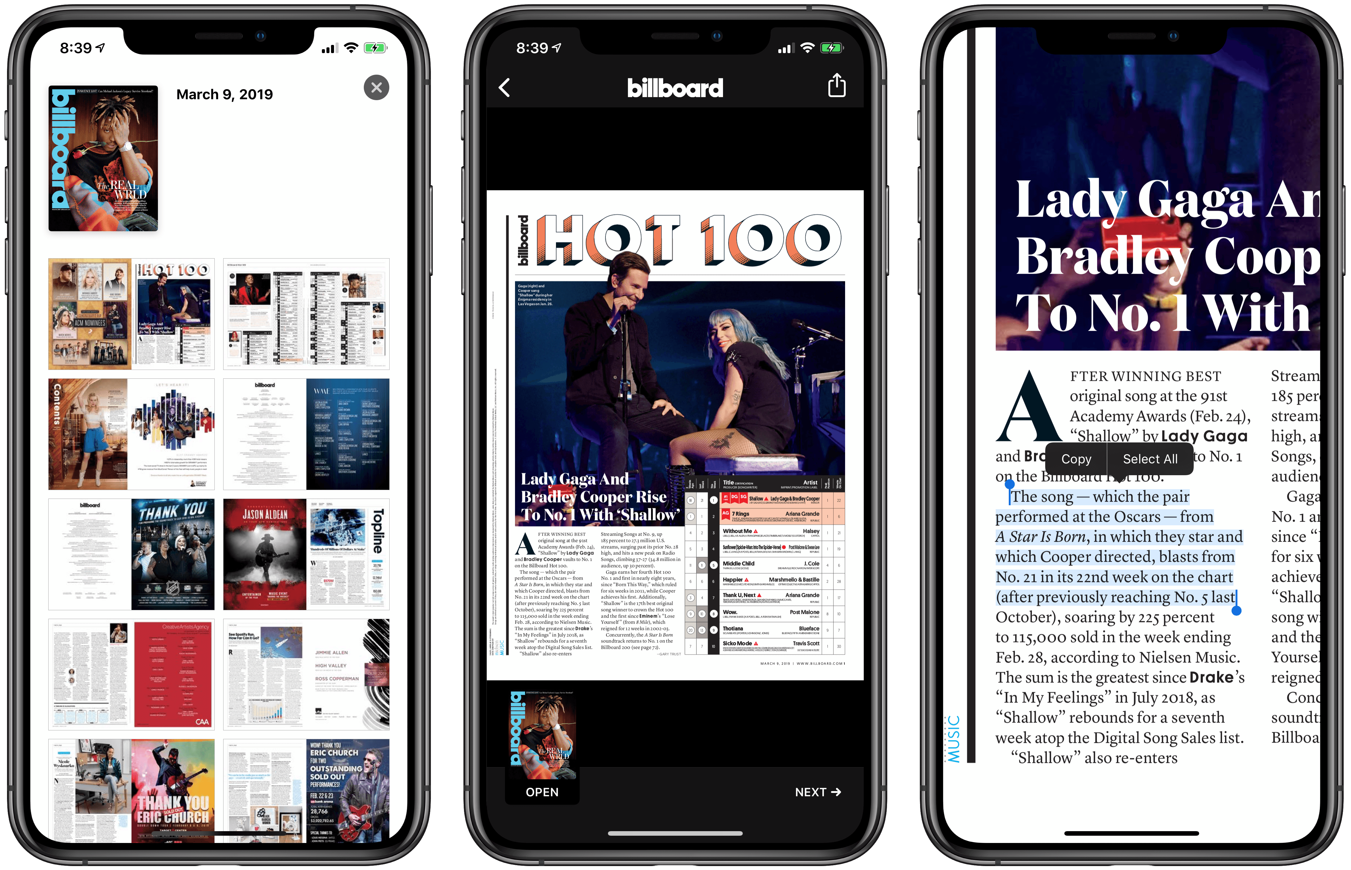Billboard is one of the magazines that do not use the Apple News Format. Issues are made of pages that resemble a PDF document.