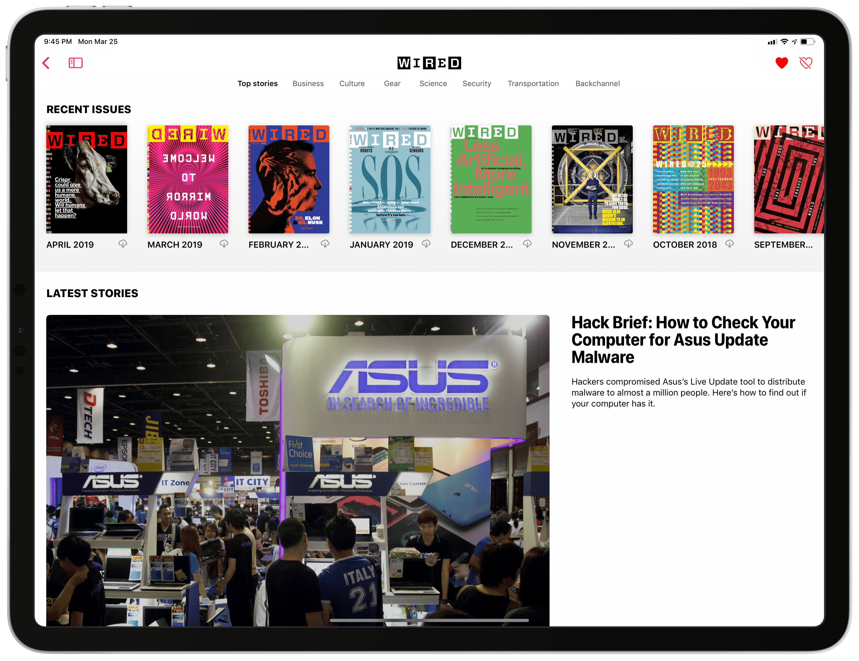 Opening an individual publication's page will show you past issues of the magazines that can be read in Apple News+. The same page can combine website stories with magazine issues.