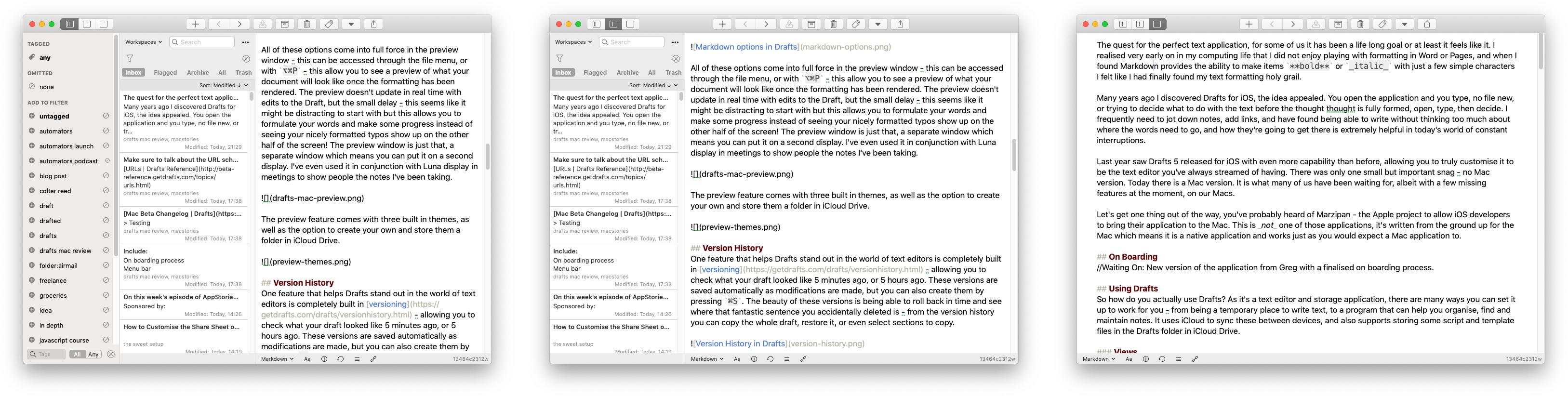 Draft View, List View, and Tag View in Drafts for Mac