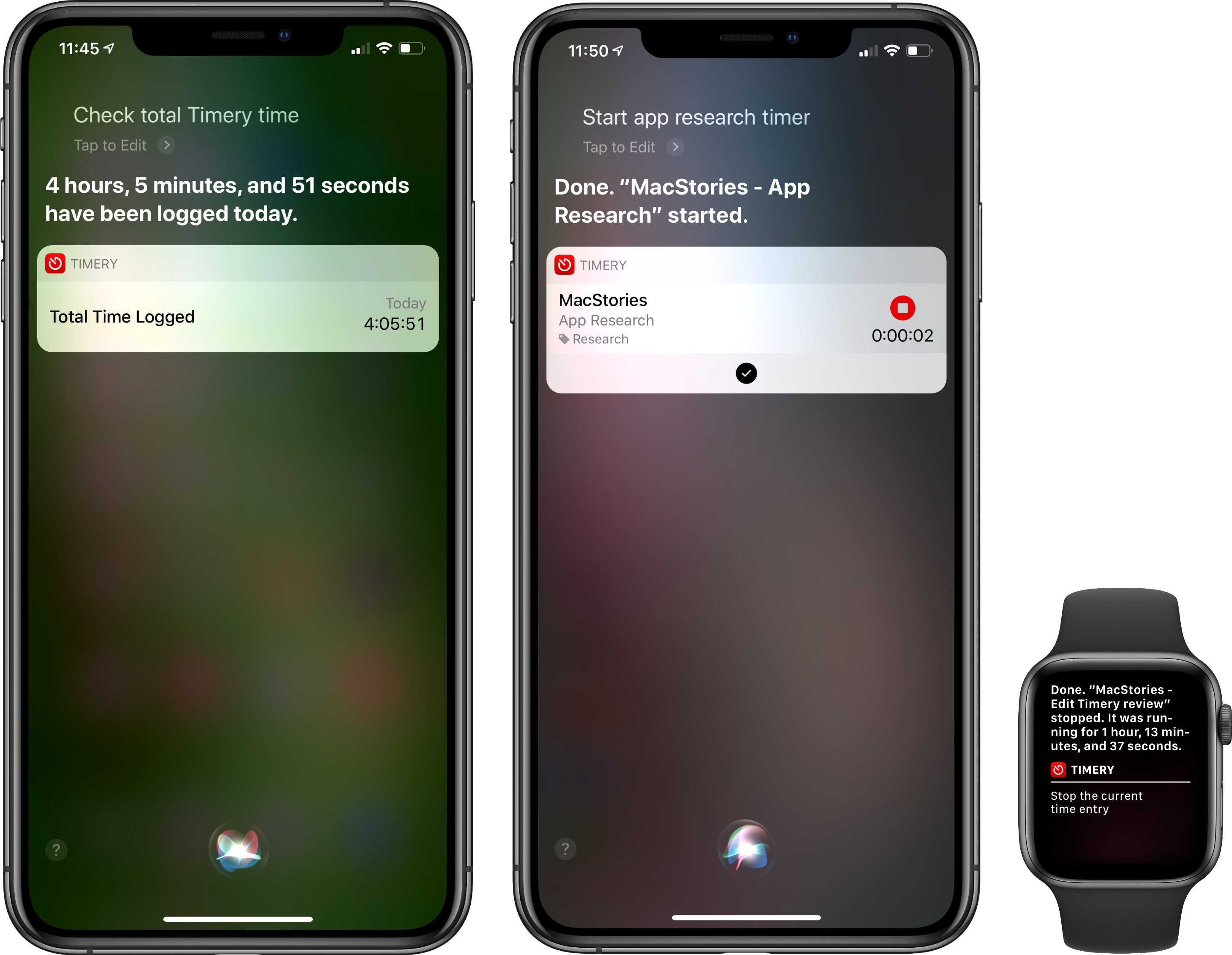 Timery's Siri shortcut can start, stop, and report on elapsed time tracked.