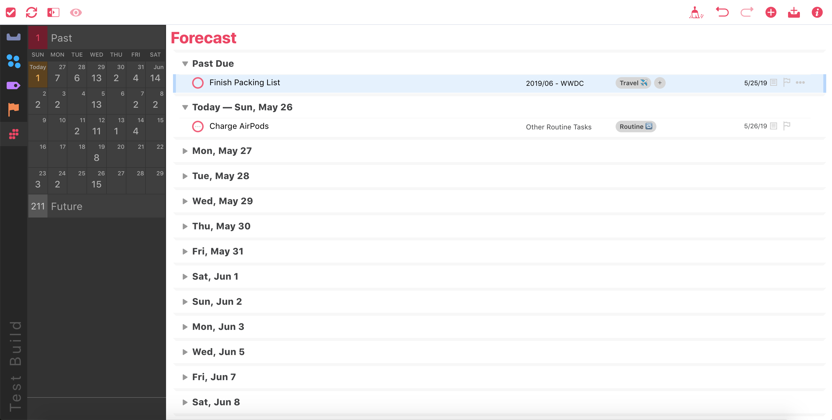 Forecast View in OmniFocus for the Web (Beta).
