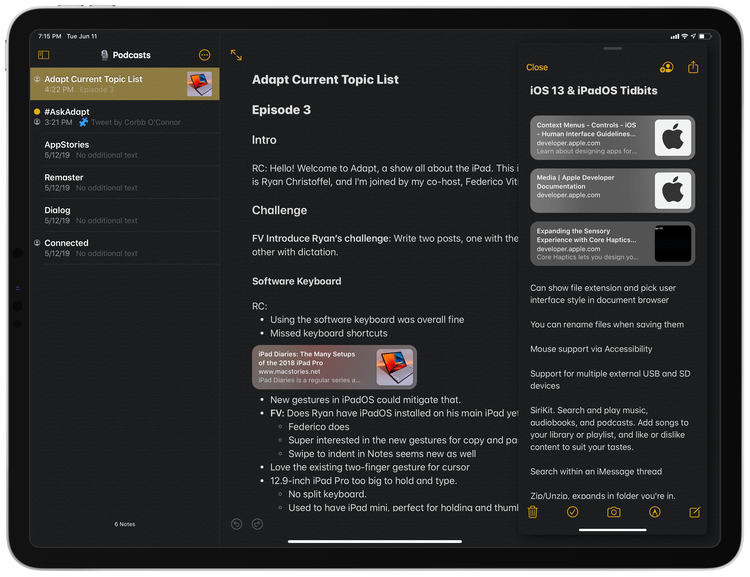 Two windows from Notes – one in full-screen, the other in Slide Over with dark mode enabled.