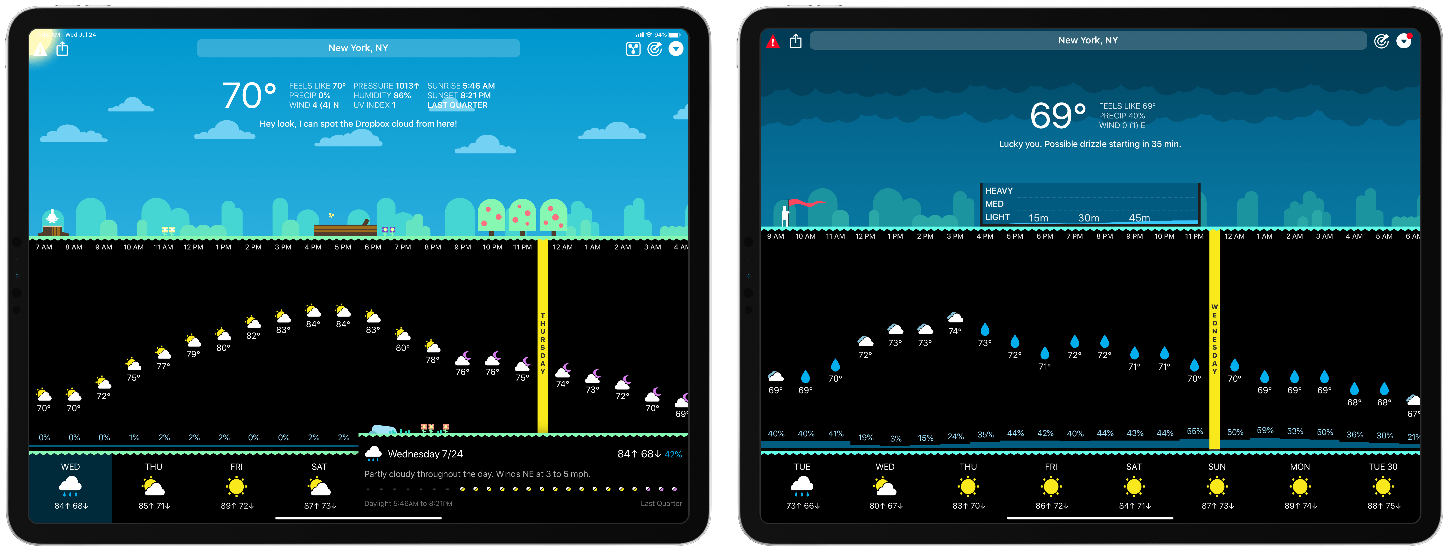 CARROT's latest update (left) and previous version (right).